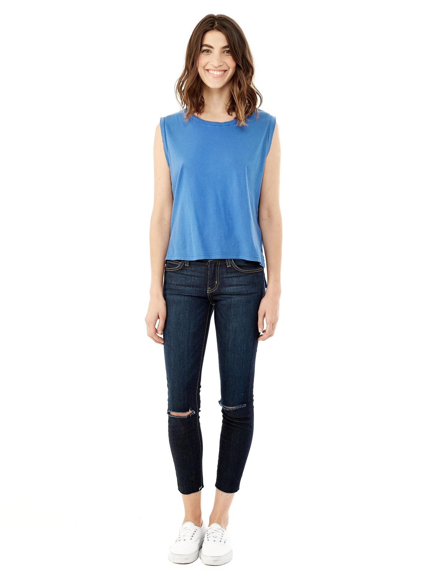 alternative apparel washed slub tank top in blue lyst