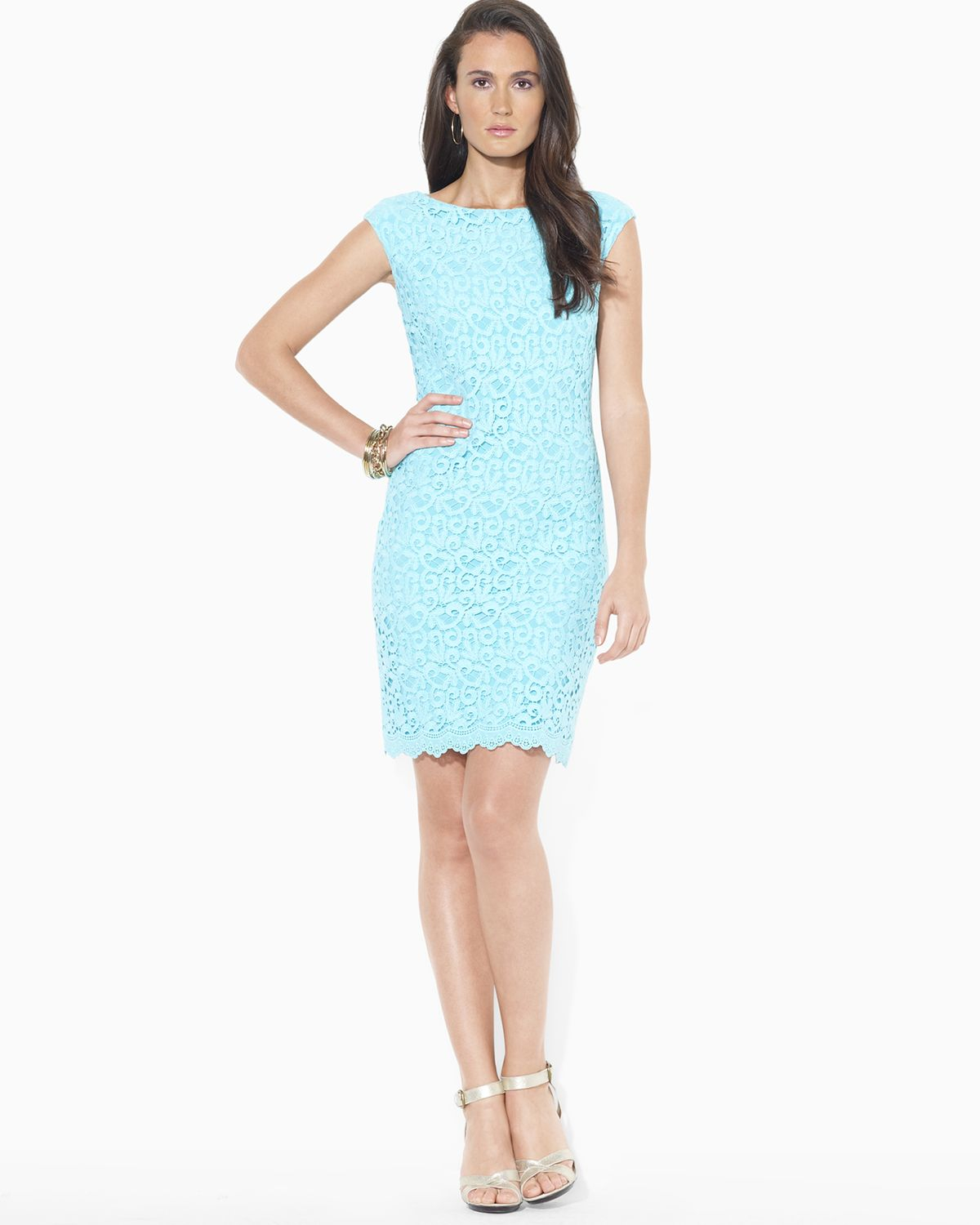 Cap Sleeve Lace In Blue