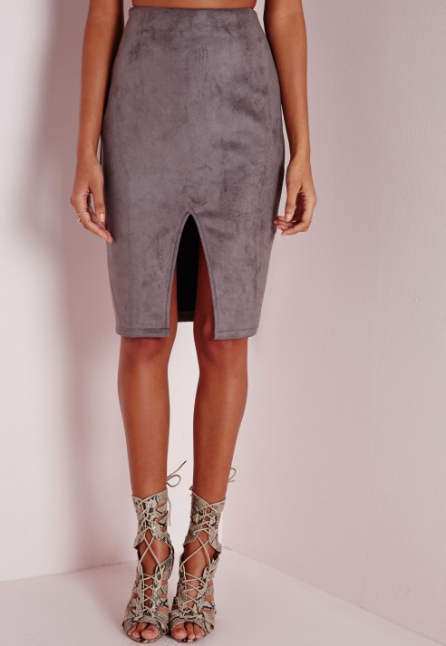 Missguided Faux Suede Split Midi Skirt Grey in Gray | Lyst
