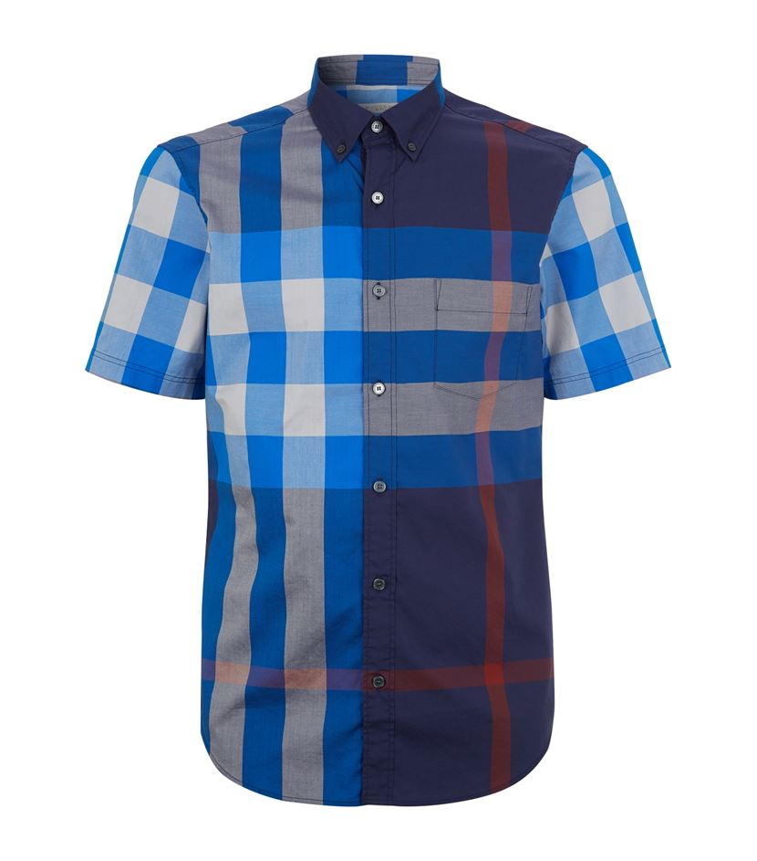 burberry brit large check sleeve shirt in blue for