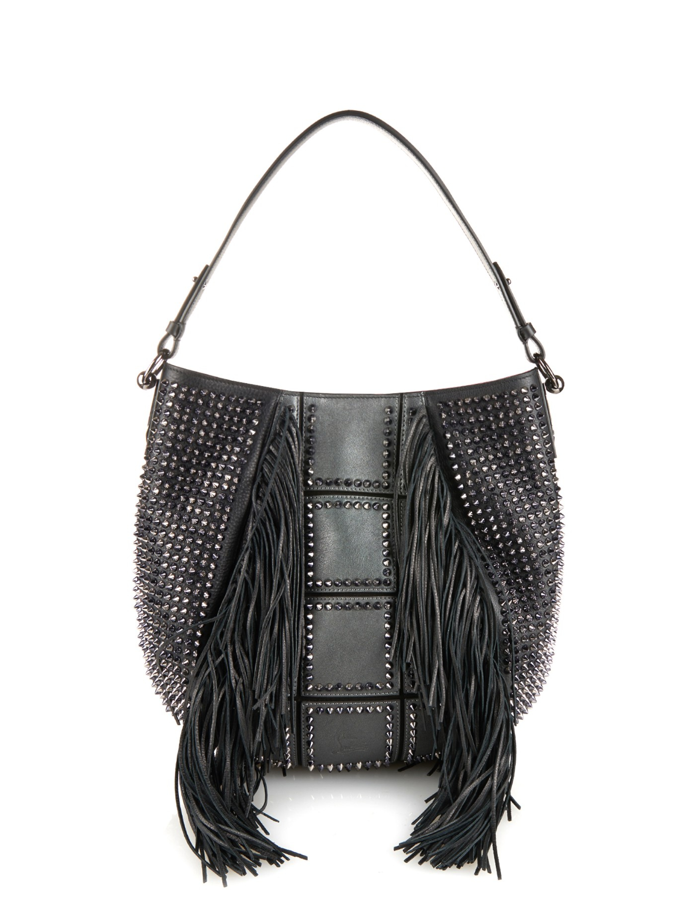 Christian louboutin Lucky Hobo Fringe Shoulder Bag in Gray | Lyst
