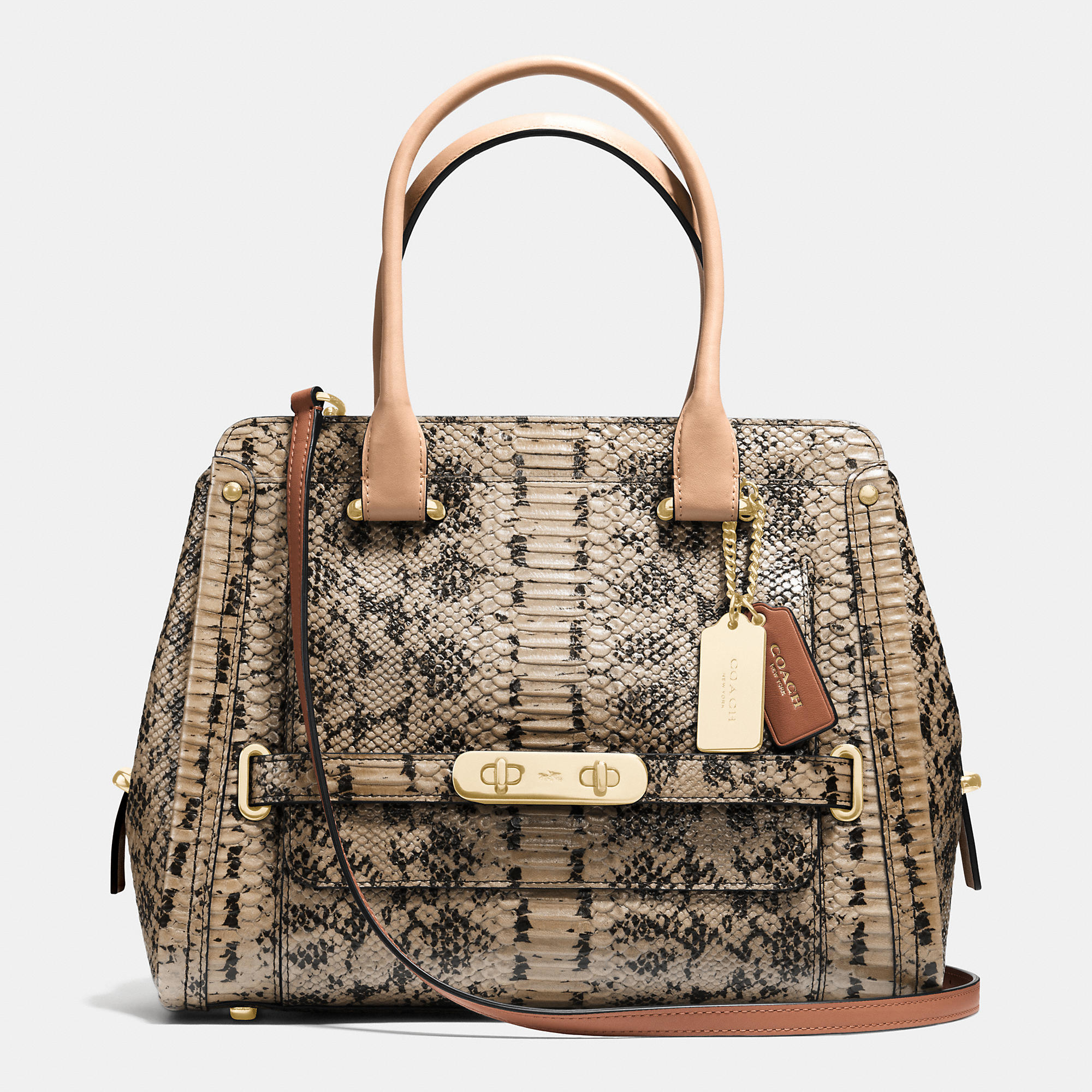 Coach Swagger Frame Satchel In Colorblock Exotic Embossed