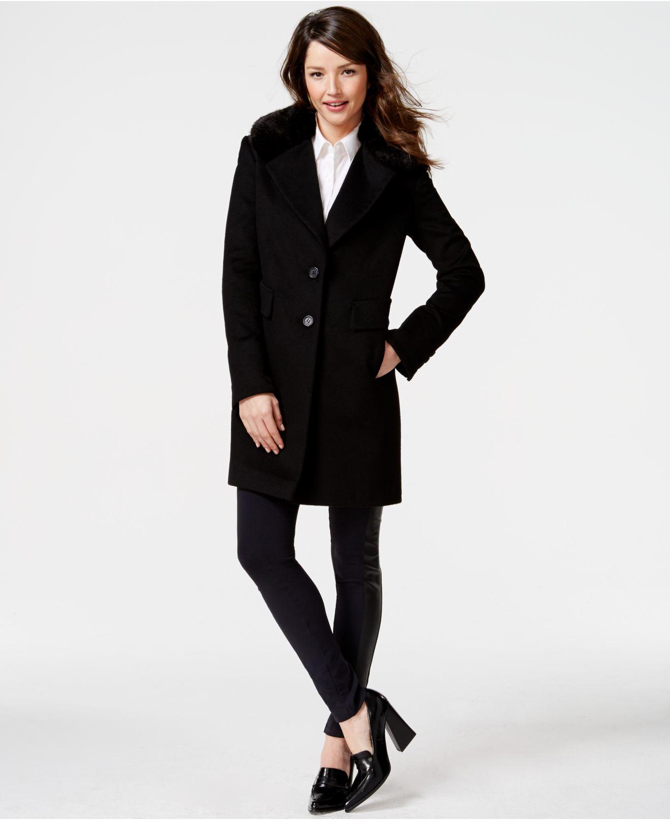 f2c53455ef7 Lyst - DKNY Faux-fur-collar Wool-blend Walker Coat in Black