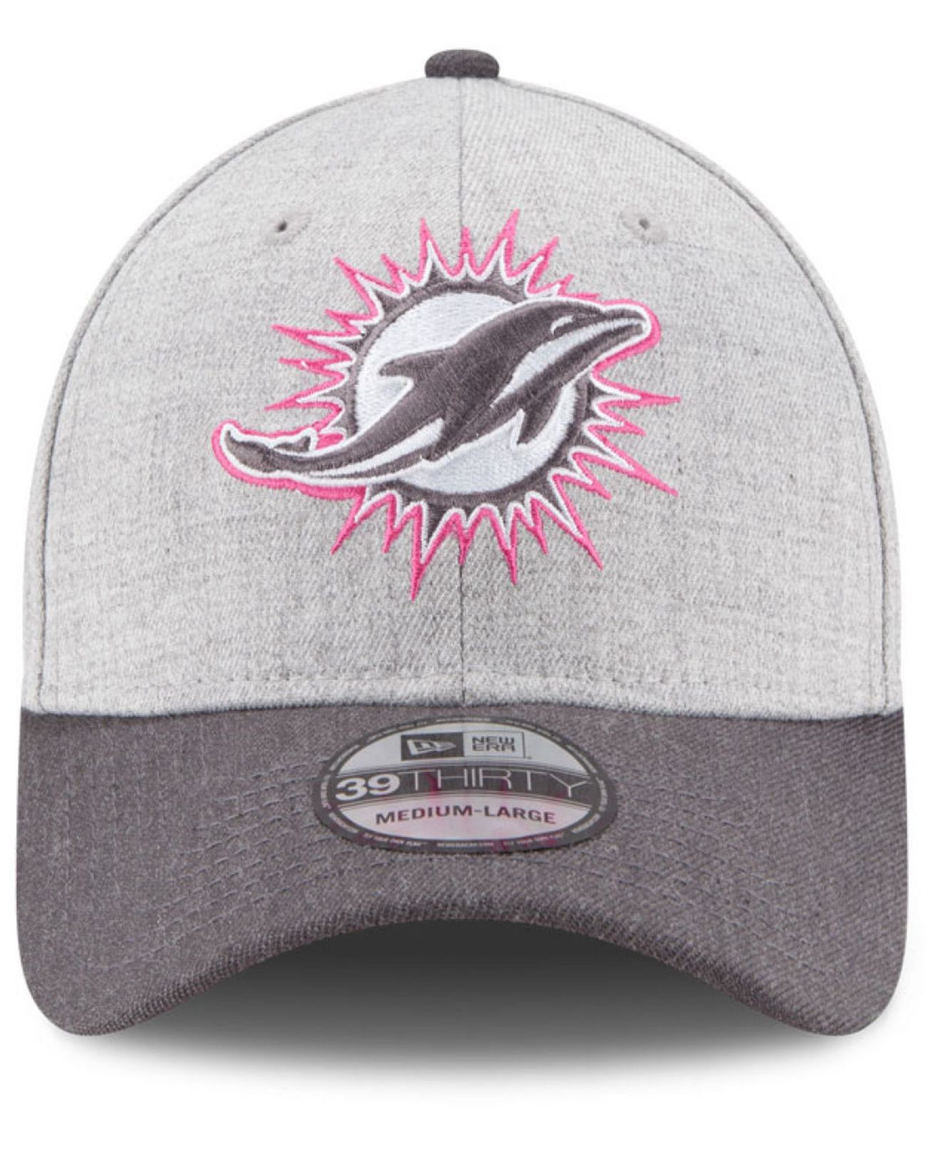e0a6d414e ... hot lyst ktz miami dolphins breast cancer awareness 39thirty cap in  gray 21a3c 92153