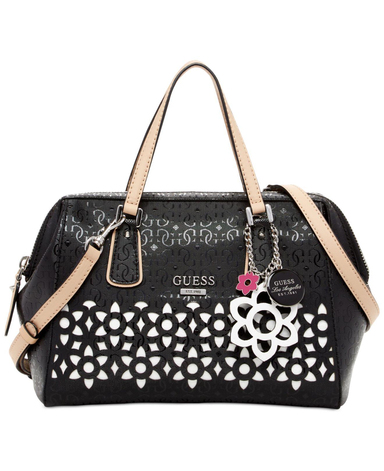 NWT GUESS Bianco Nero Laser Cutout Frame Satchel Handbag Purse Hot Pink