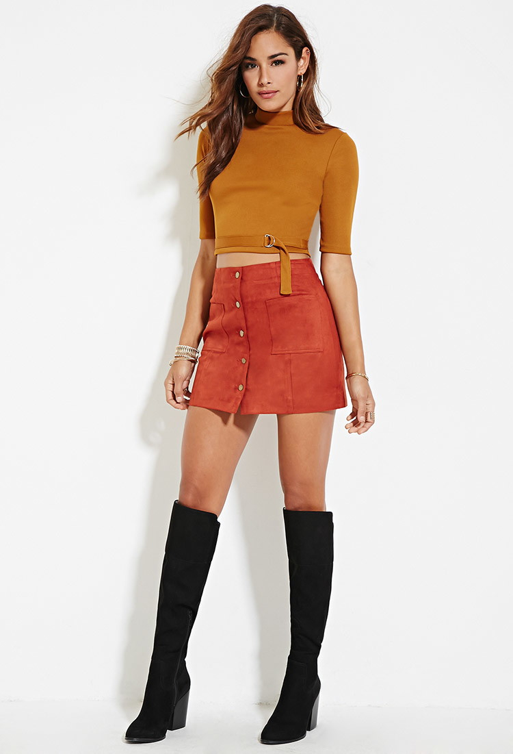 Forever 21 Faux Suede Mini Skirt in Red | Lyst