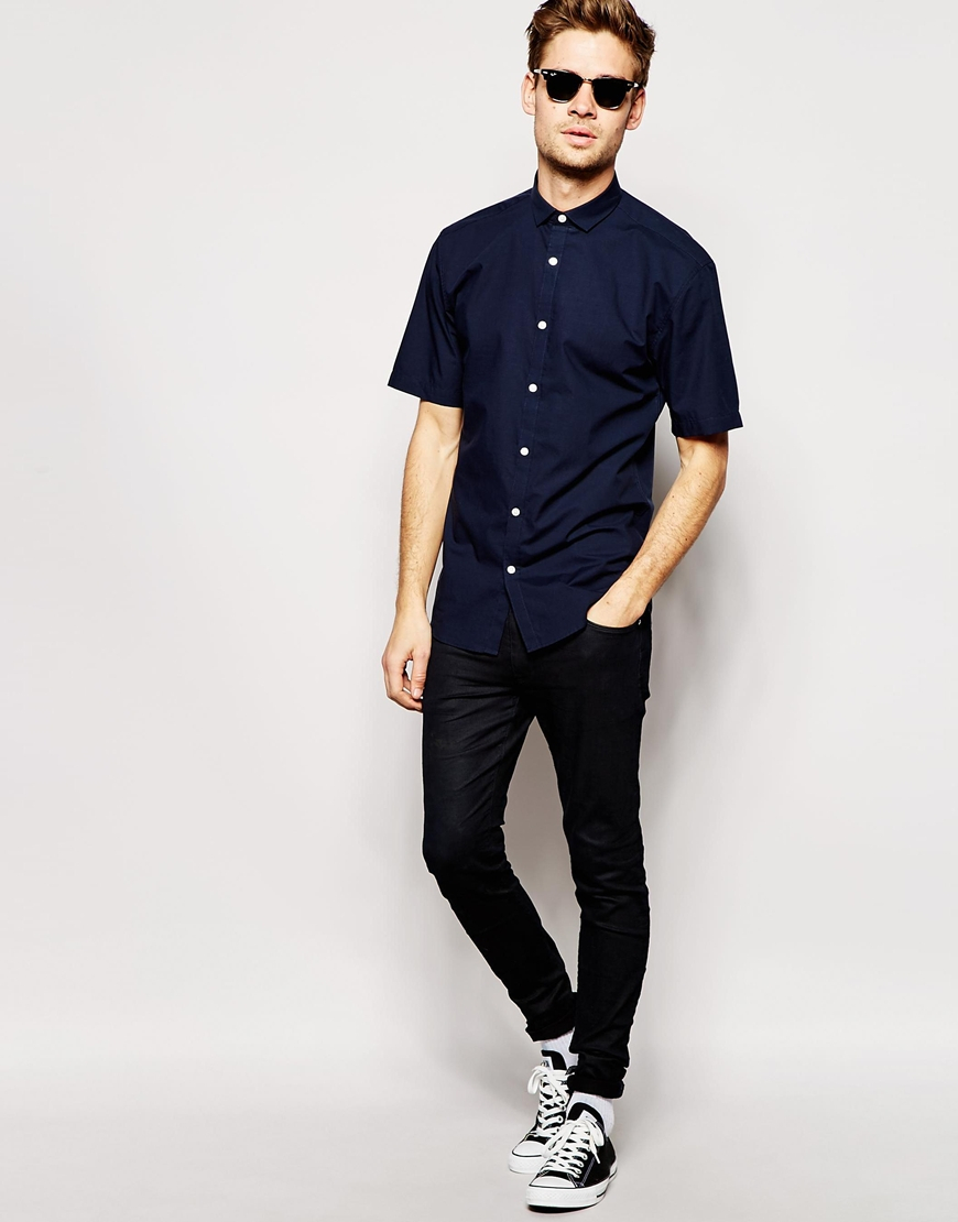 selected selected short sleeve formal shirt in slim fit in