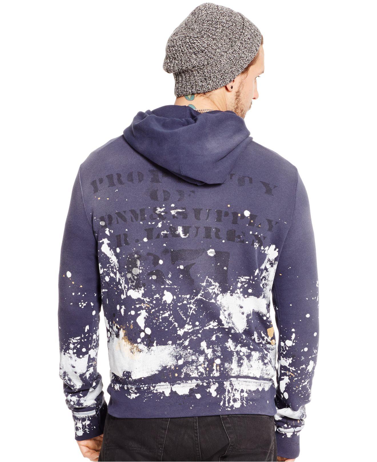 Denim \\\\u0026amp; supply ralph lauren Paint-splattered Hoodie in Blue for Men