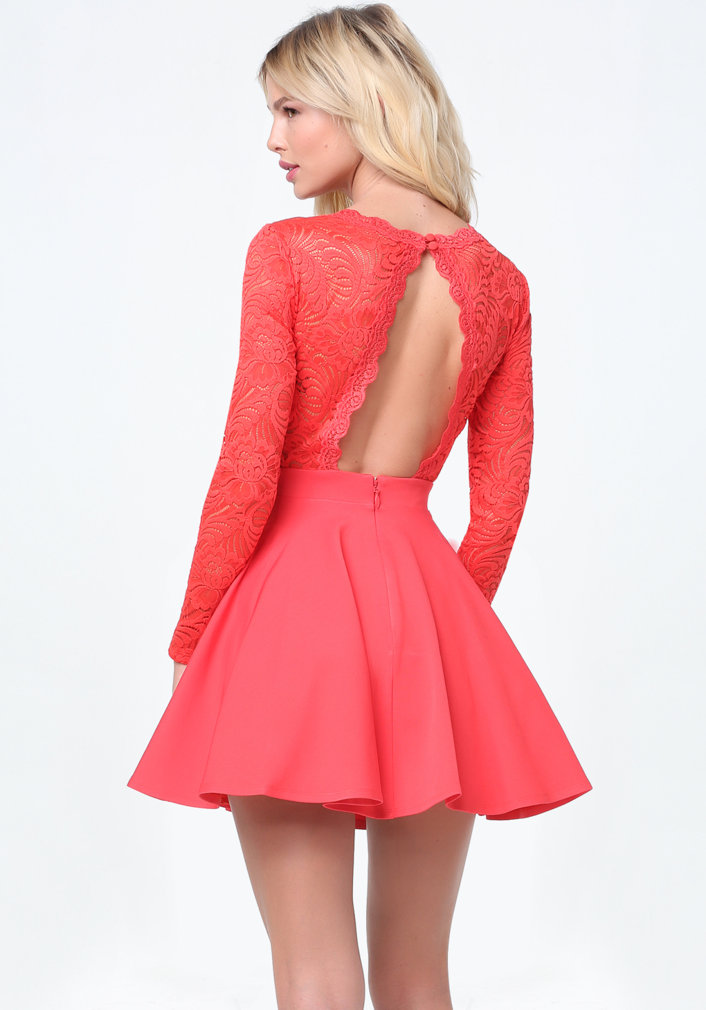 Bebe Lace Backless Flared Dress Lyst