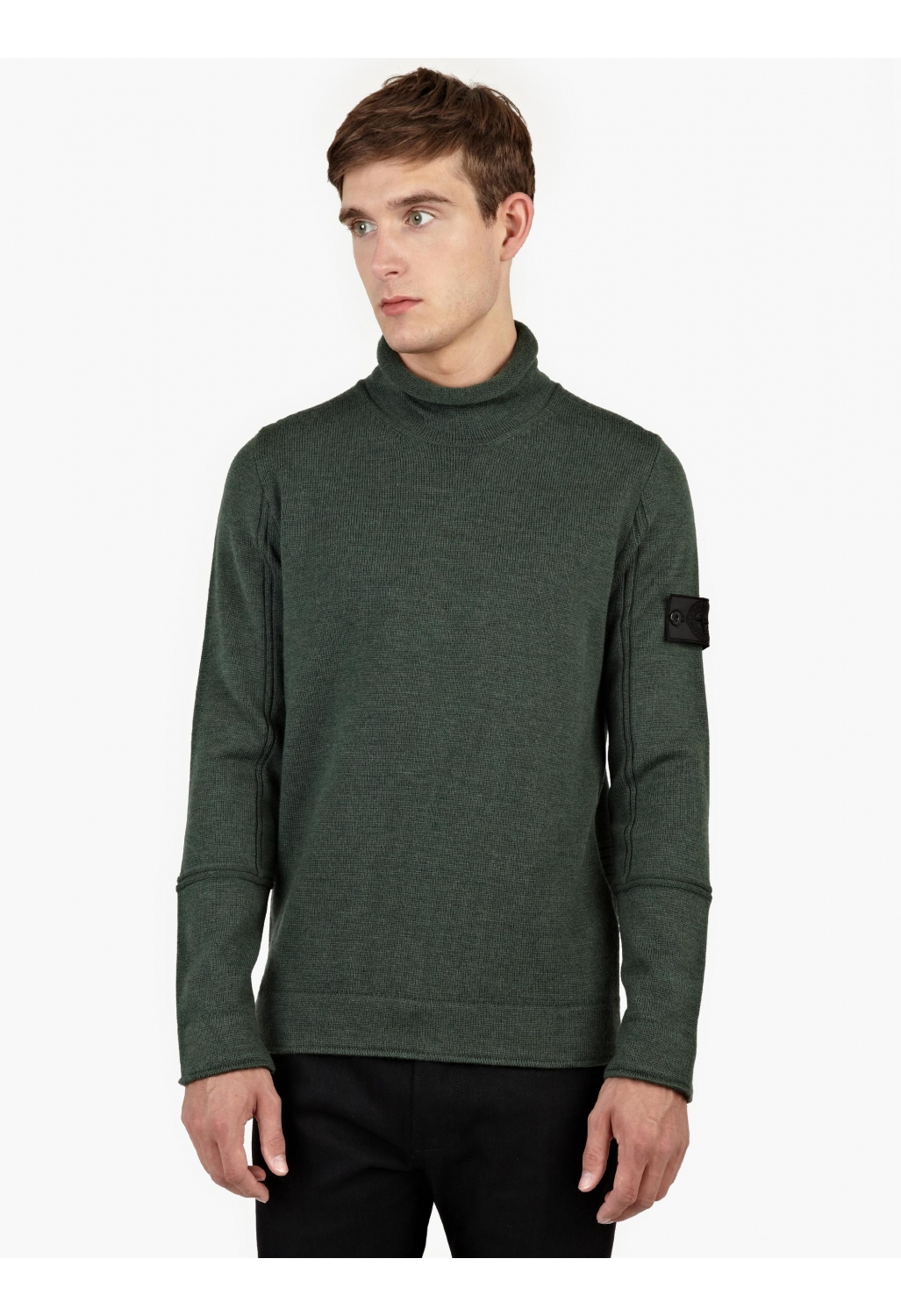 stone island green wool roll neck sweater in green for men lyst. Black Bedroom Furniture Sets. Home Design Ideas