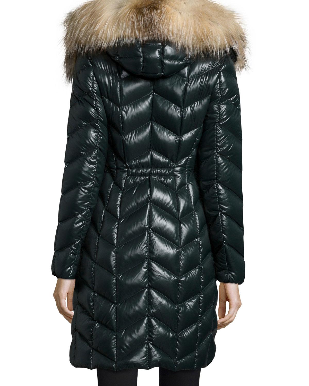 Moncler Bellette Fur Trim Puffer Coat In Black Lyst