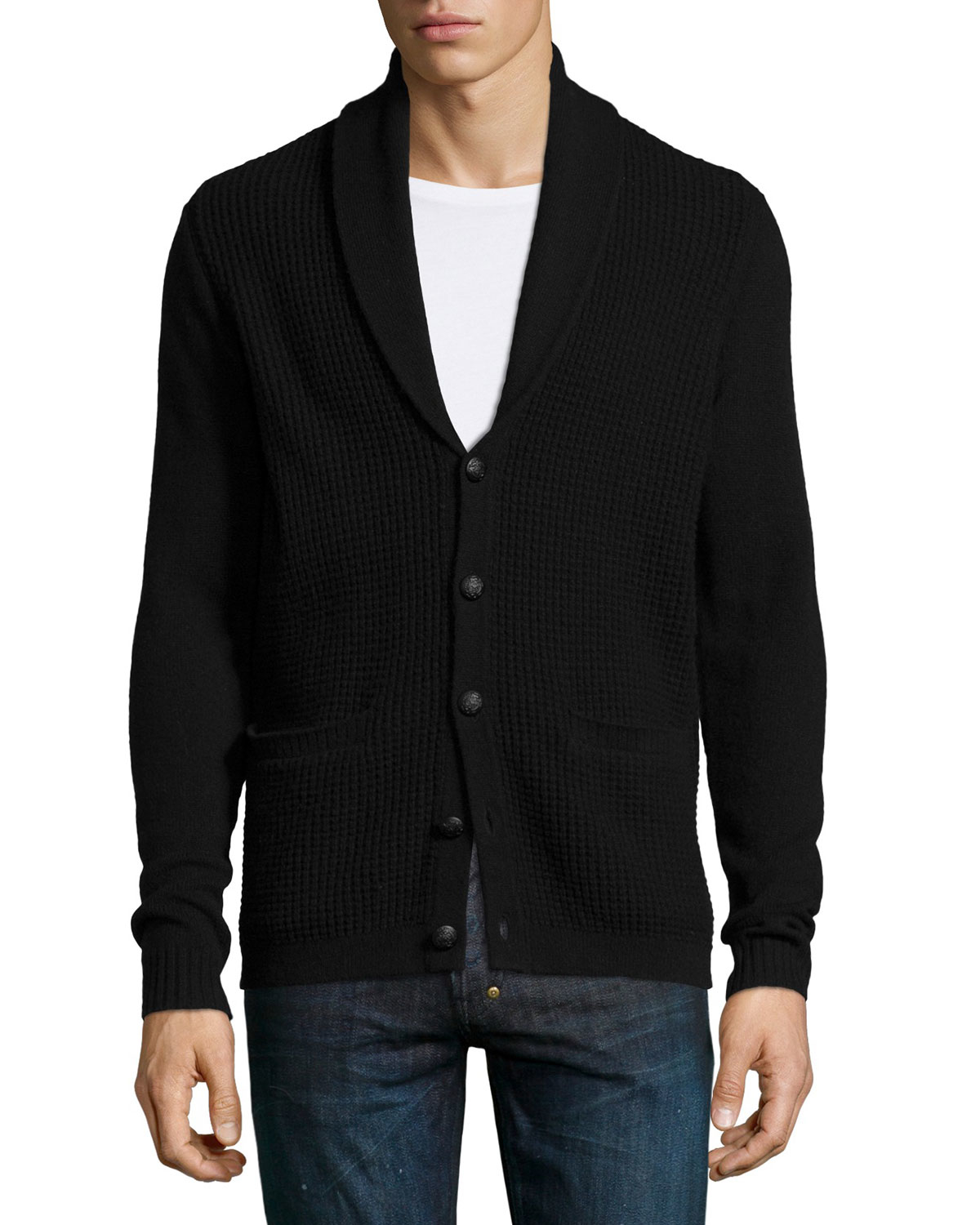John varvatos Shawl-collar Waffle-knit Cardigan in Black for Men ...