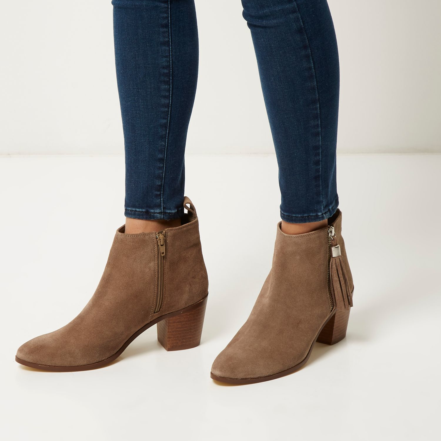 Beige suede block heel ankle boots Beige suede block heel ankle boots $ Product no: Size guide Only a few left in stock Black chunky side zip block heel ankle boots. Quick view. Add to wishlist. $ Black square toe ankle boots. Quick view. Add to wishlist. $ Black faux leather block heel shoe boots.