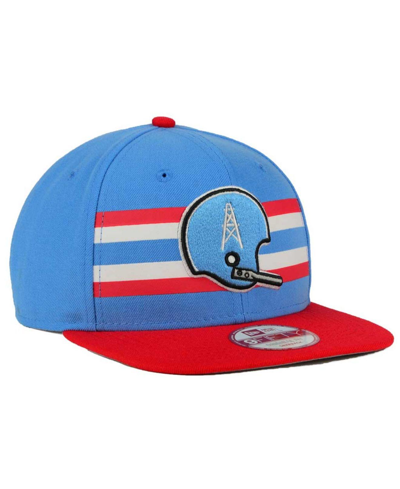 Lyst - KTZ Houston Oilers Retro Striped 9fifty Snapback Cap in Blue ... e4a9a2062