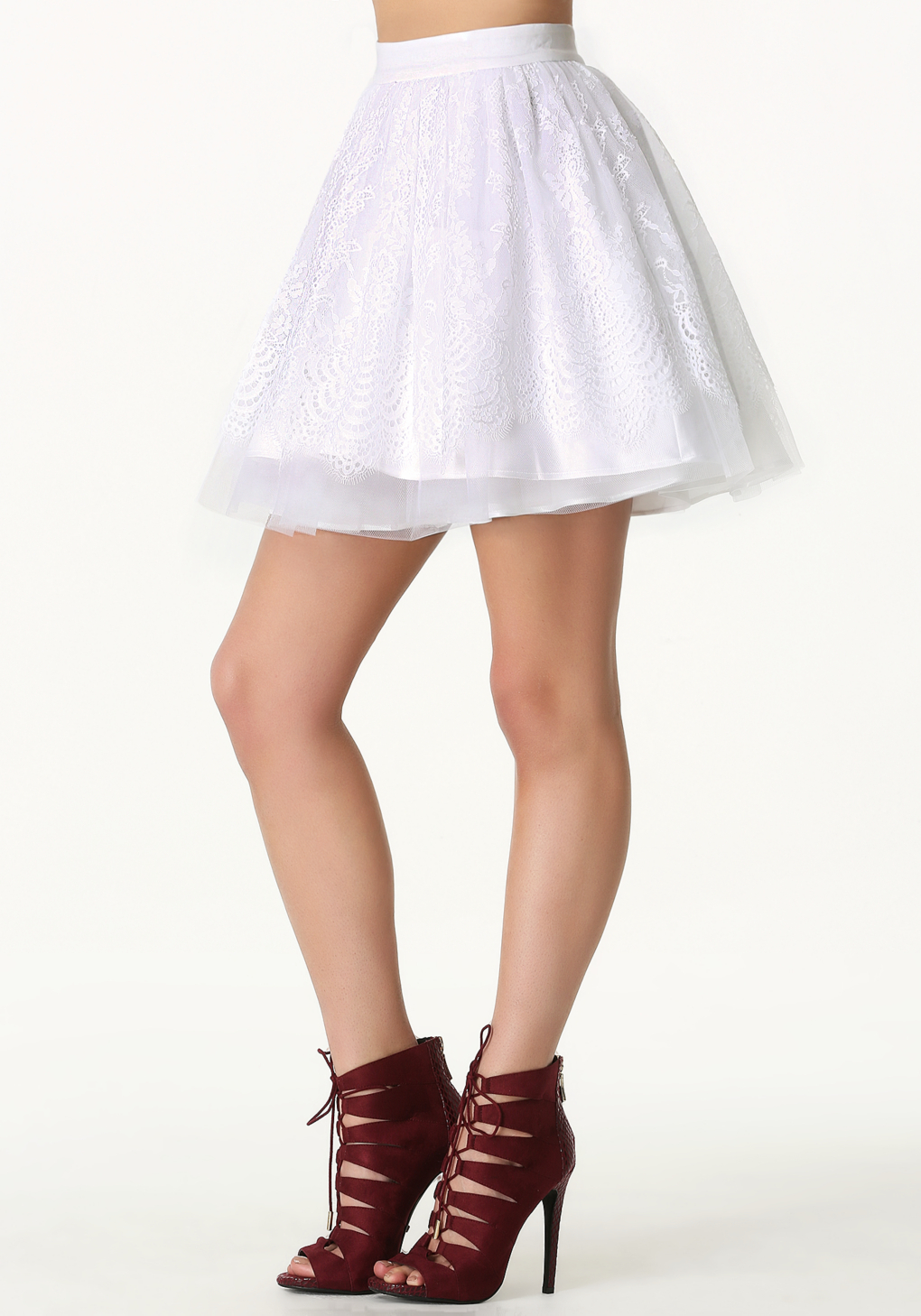 Bebe Scalloped Lace Circle Skirt in White