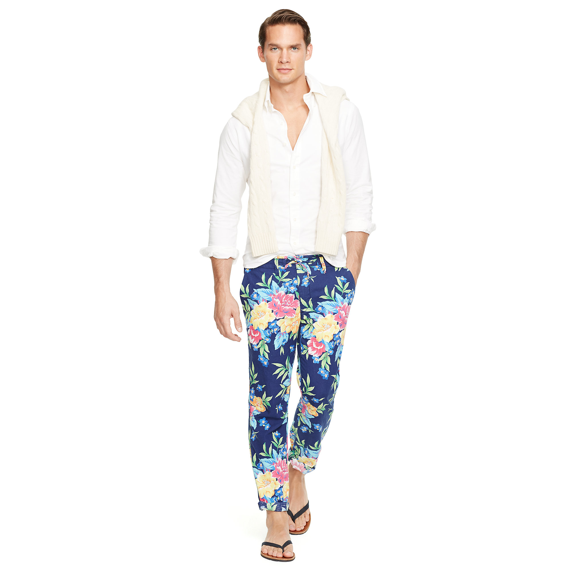 Polo ralph lauren Straight-fit Floral Pants in Blue for Men | Lyst