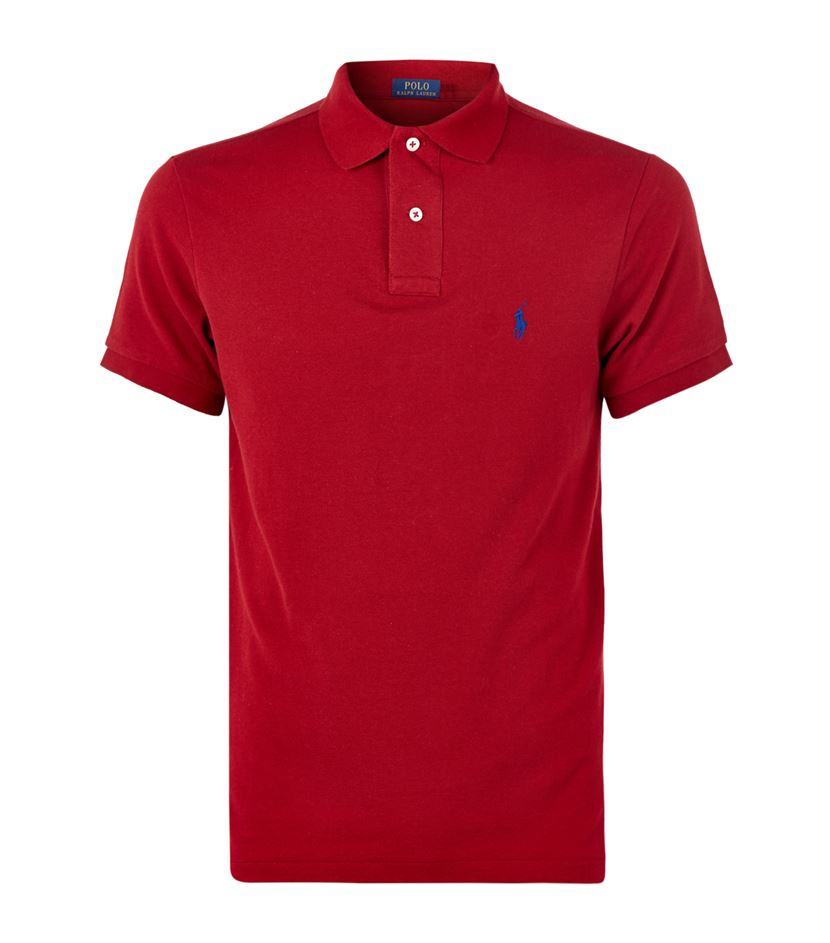 Lyst polo ralph lauren custom fit logo polo shirt in red for Custom tailored polo shirts