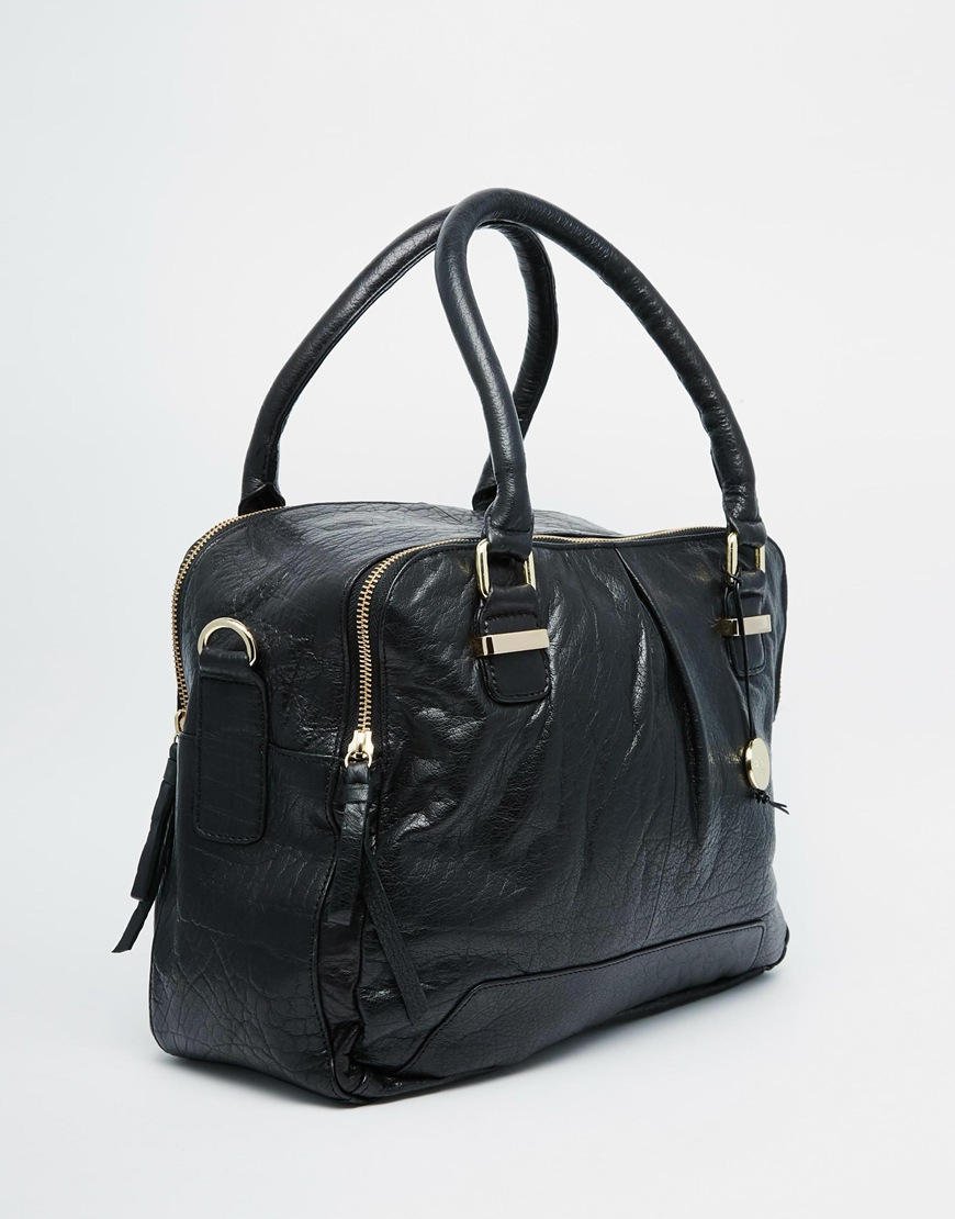 cad378dc904e Lyst - Oasis Asis Leather Double Compartment Bag in Black