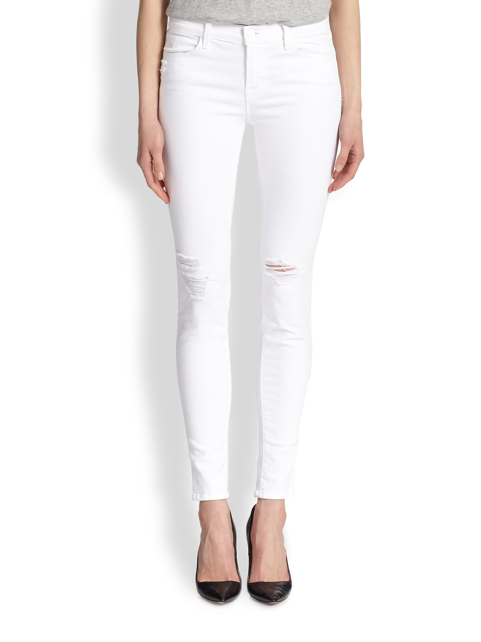 J brand White Rock Destructed Skinny Jeans in White | Lyst
