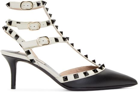 valentino black and white cage rockstud heels in
