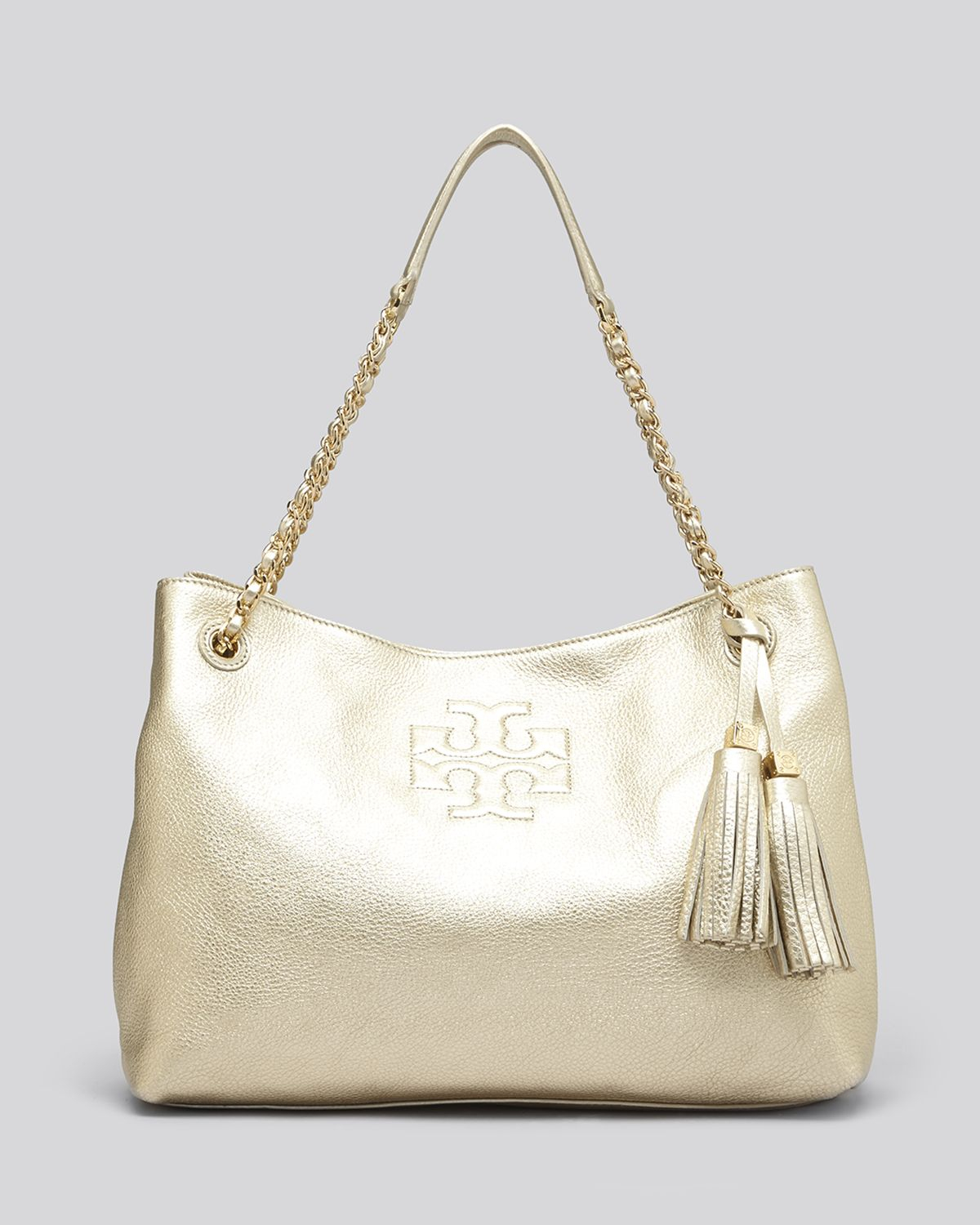 d1b19fbbb3d Lyst - Tory Burch Tote Metallic Thea Chain Shoulder Slouchy in Metallic