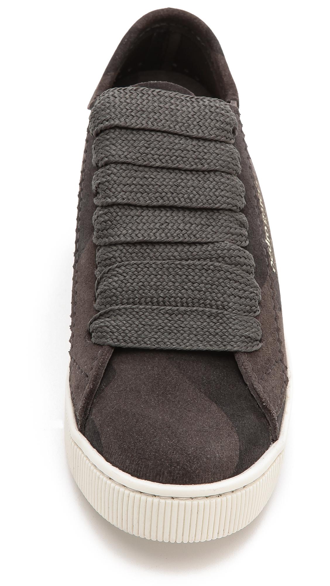 Pedro Garcia Perry Camo Suede Sneakers - Olive Camo in Grey