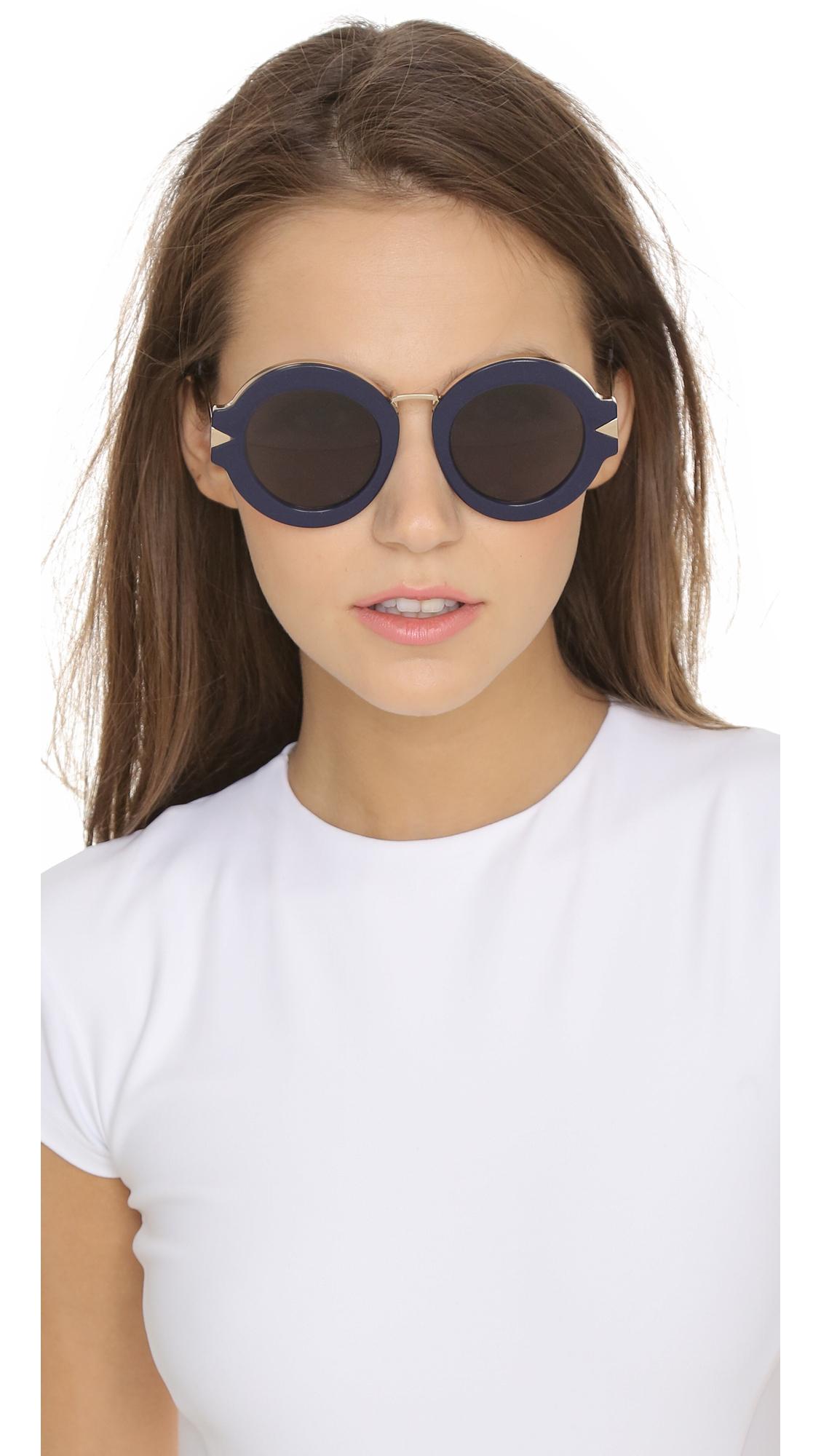 Lyst Karen Walker Maze Sunglasses Navy Gold Navy Mono