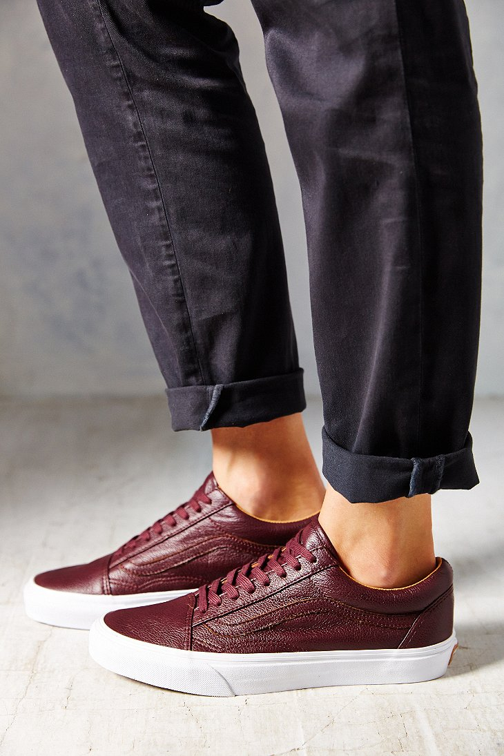 Lyst - Vans Old Skool Premium Leather Low-Top Women S Sneaker in Purple 90a5a98463