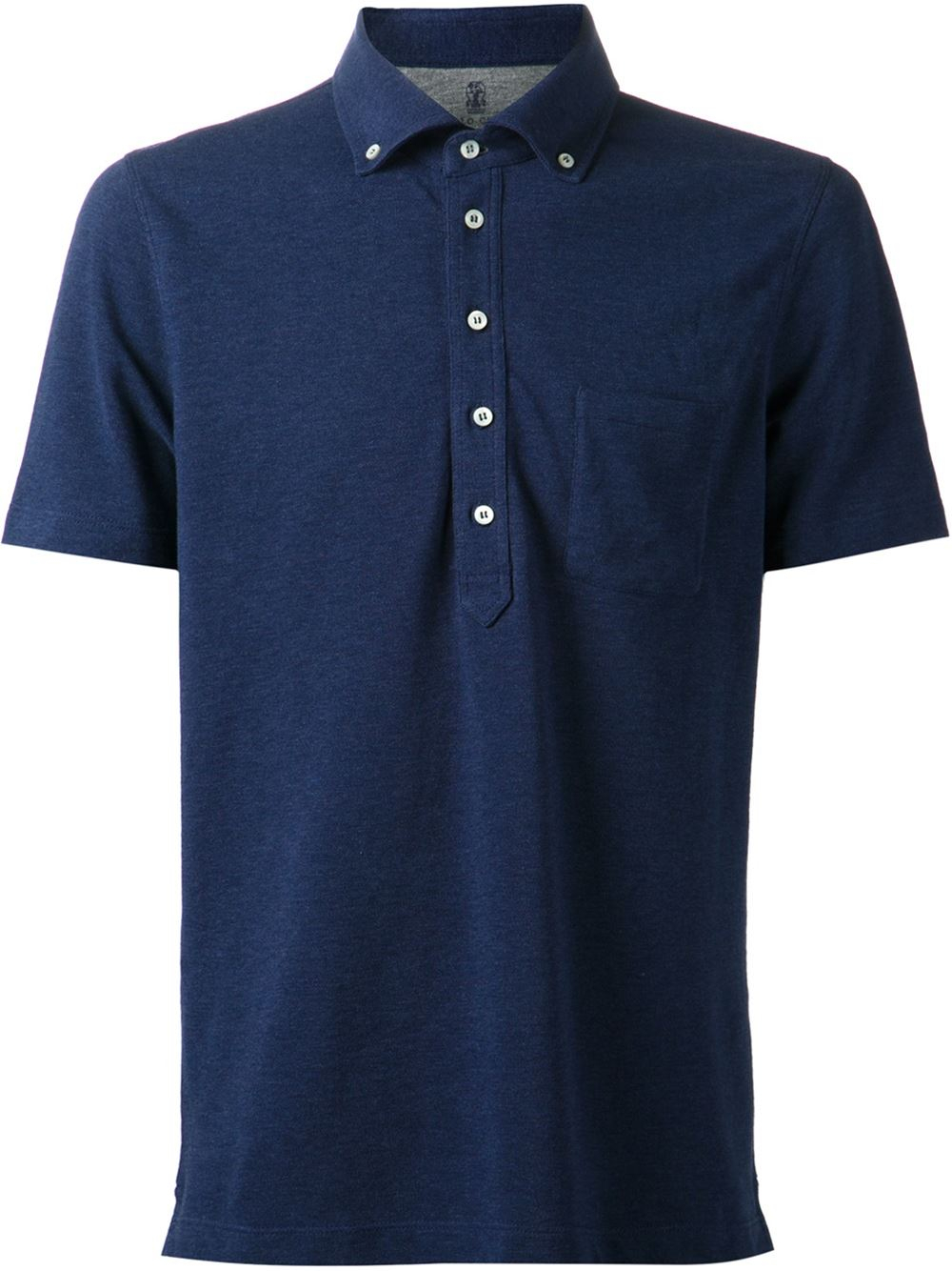 brunello cucinelli button down collar polo shirt in blue