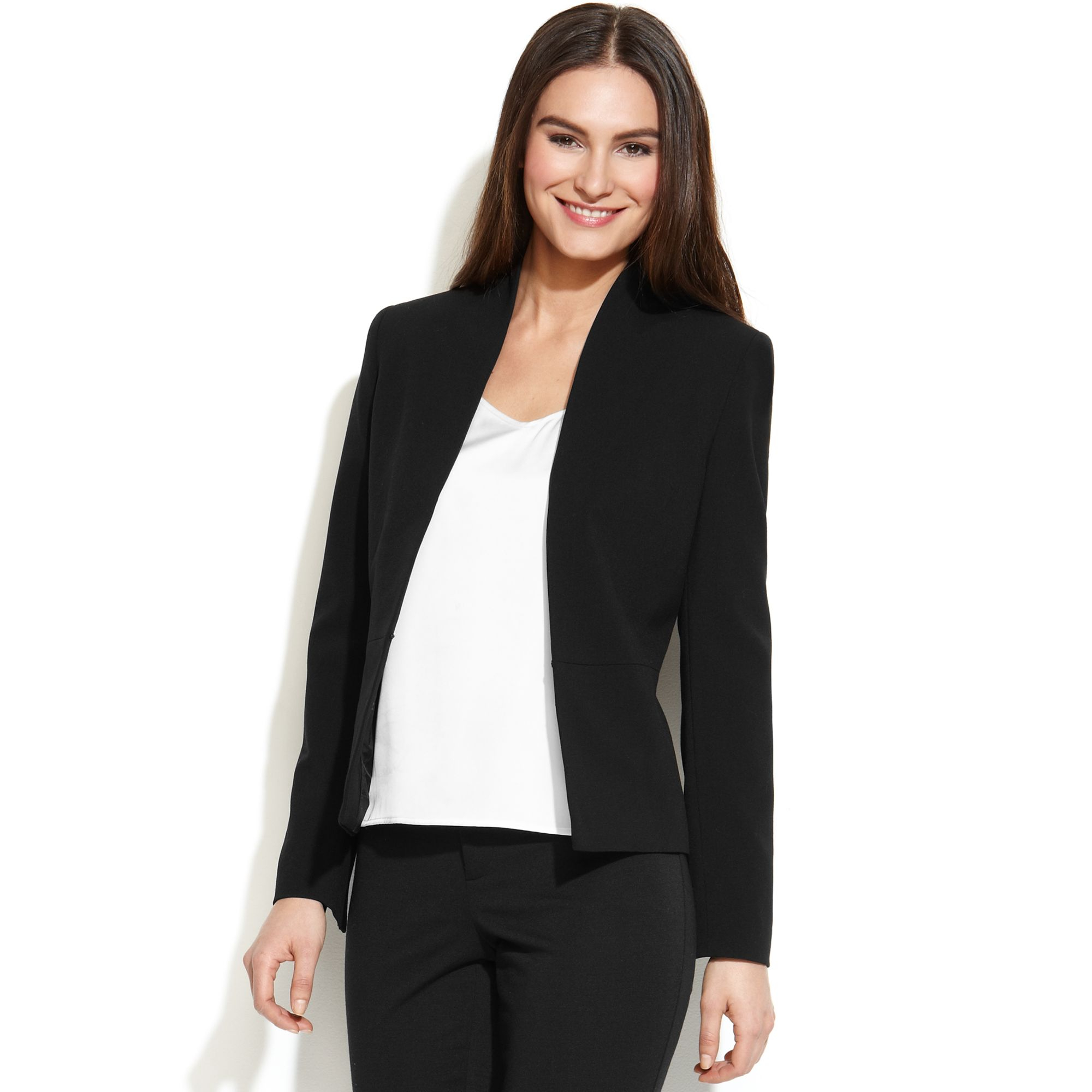 Calvin klein Fitted Collarless Blazer in Black | Lyst