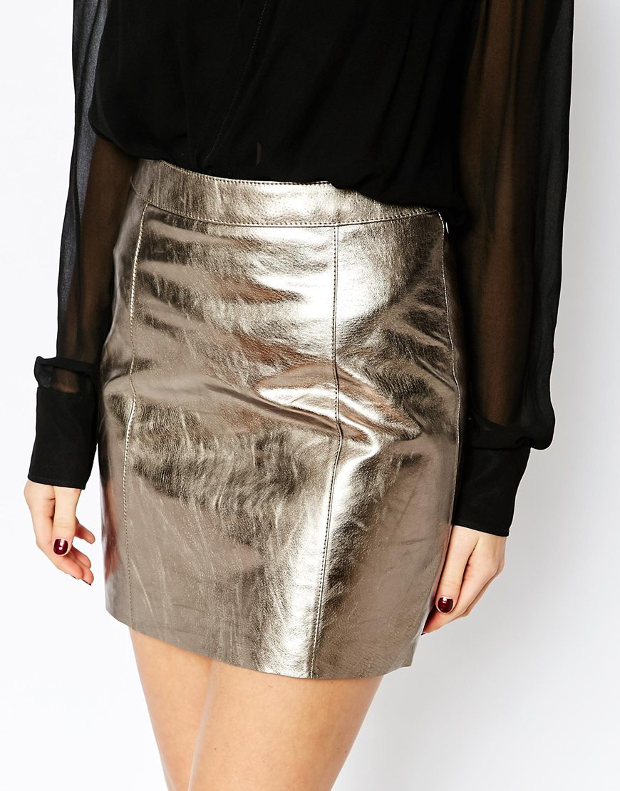 a3d1c4d9ea Warehouse Premium Metallic Leather Skirt in Metallic - Lyst