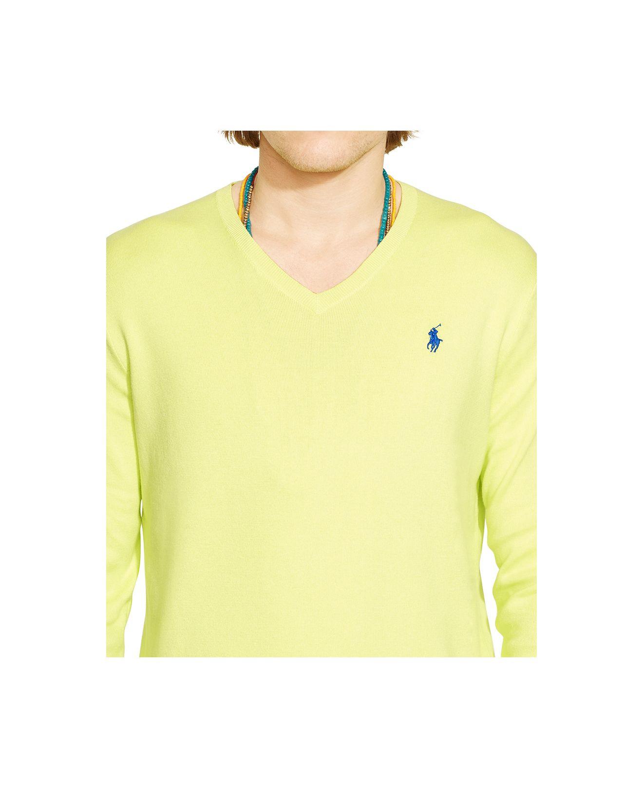 ... cheap lyst polo ralph lauren v neck sweater in yellow for men a1b0b  913d1 570bbdfe91d