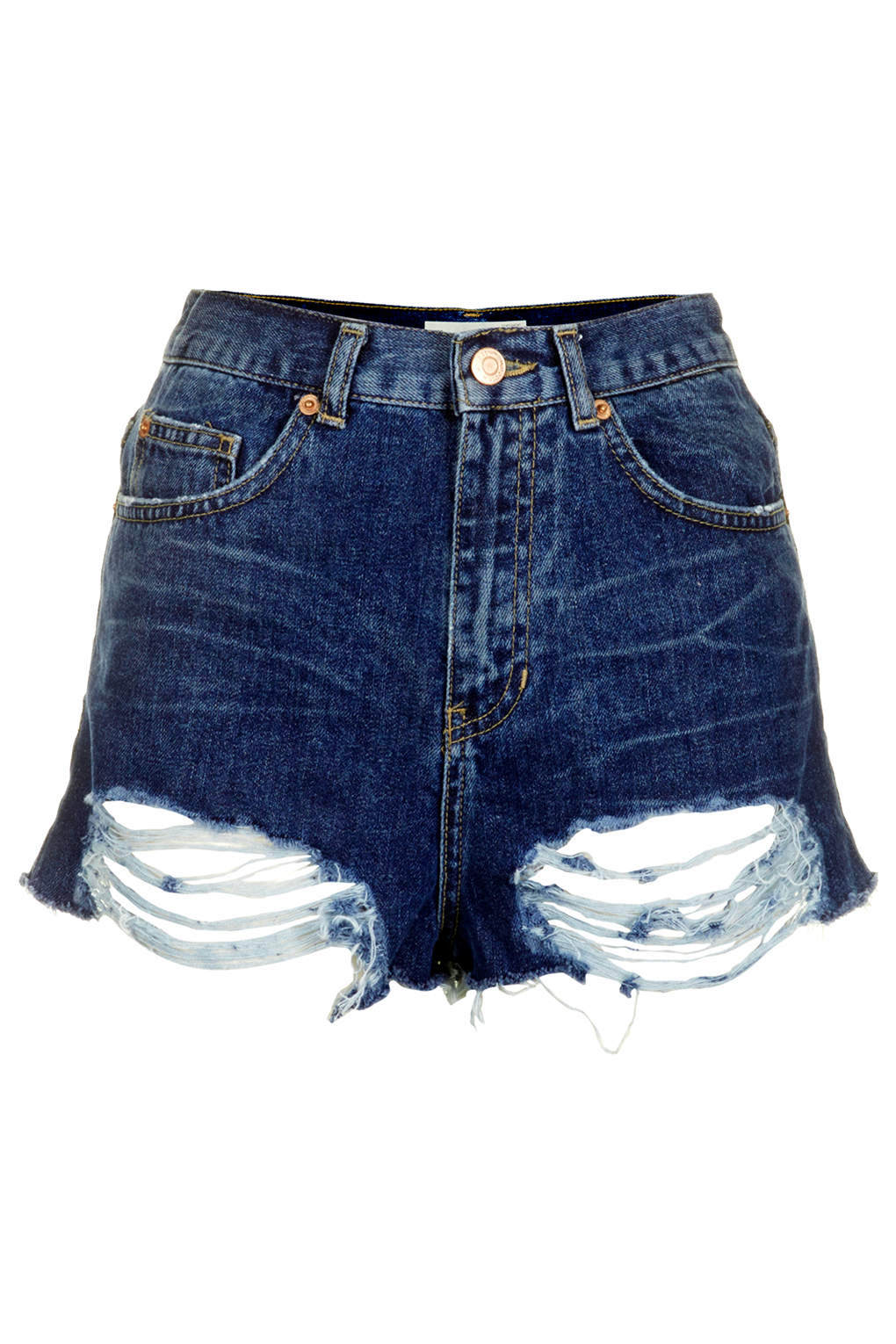 2833112c9c TOPSHOP Moto Ripped Mom Shorts in Blue - Lyst