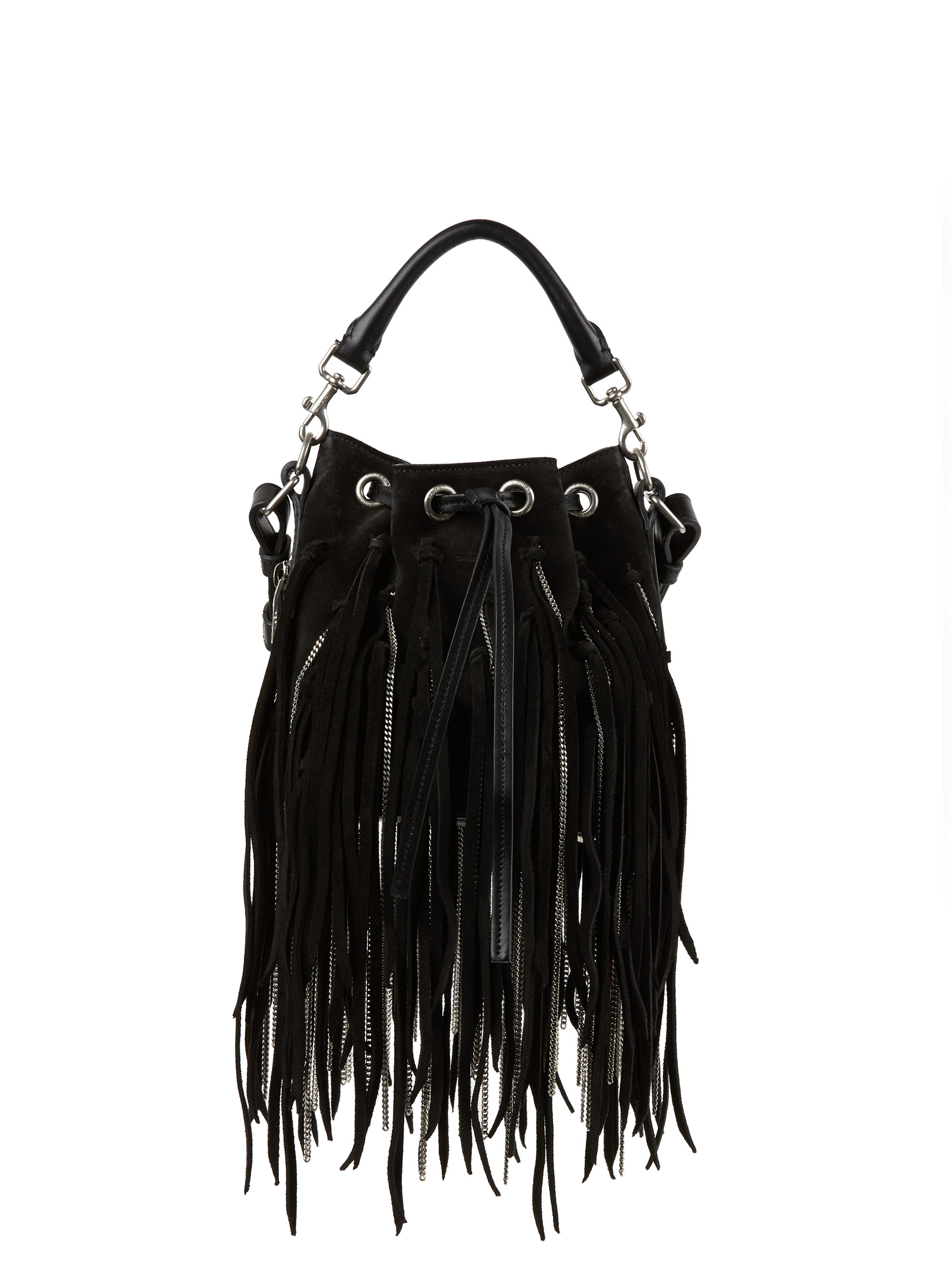 ebeea724c6 Saint laurent Emmanuelle Small Fringed Suede Bucket Bag in Black ... small  monogram saint laurent fringed crossbody bag in brown suede
