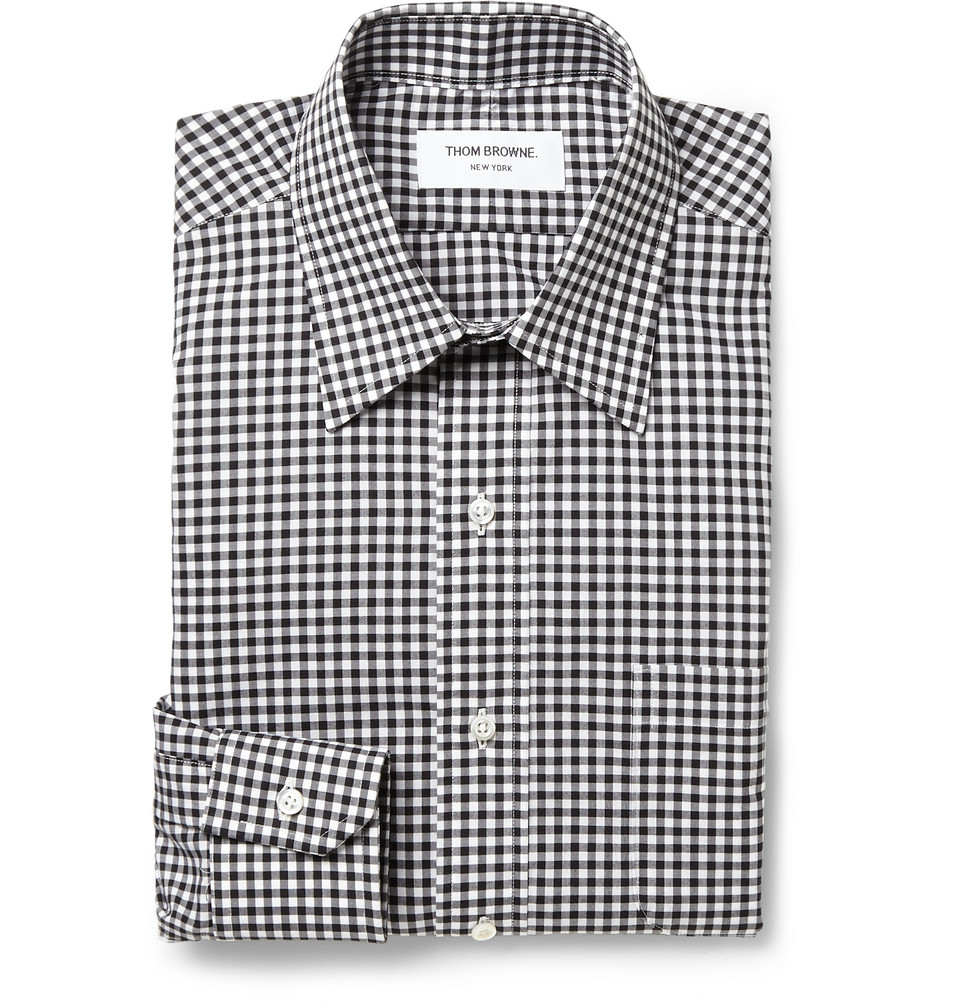 Thom browne slim fit gingham check cotton shirt in black for Slim fit gingham check shirt