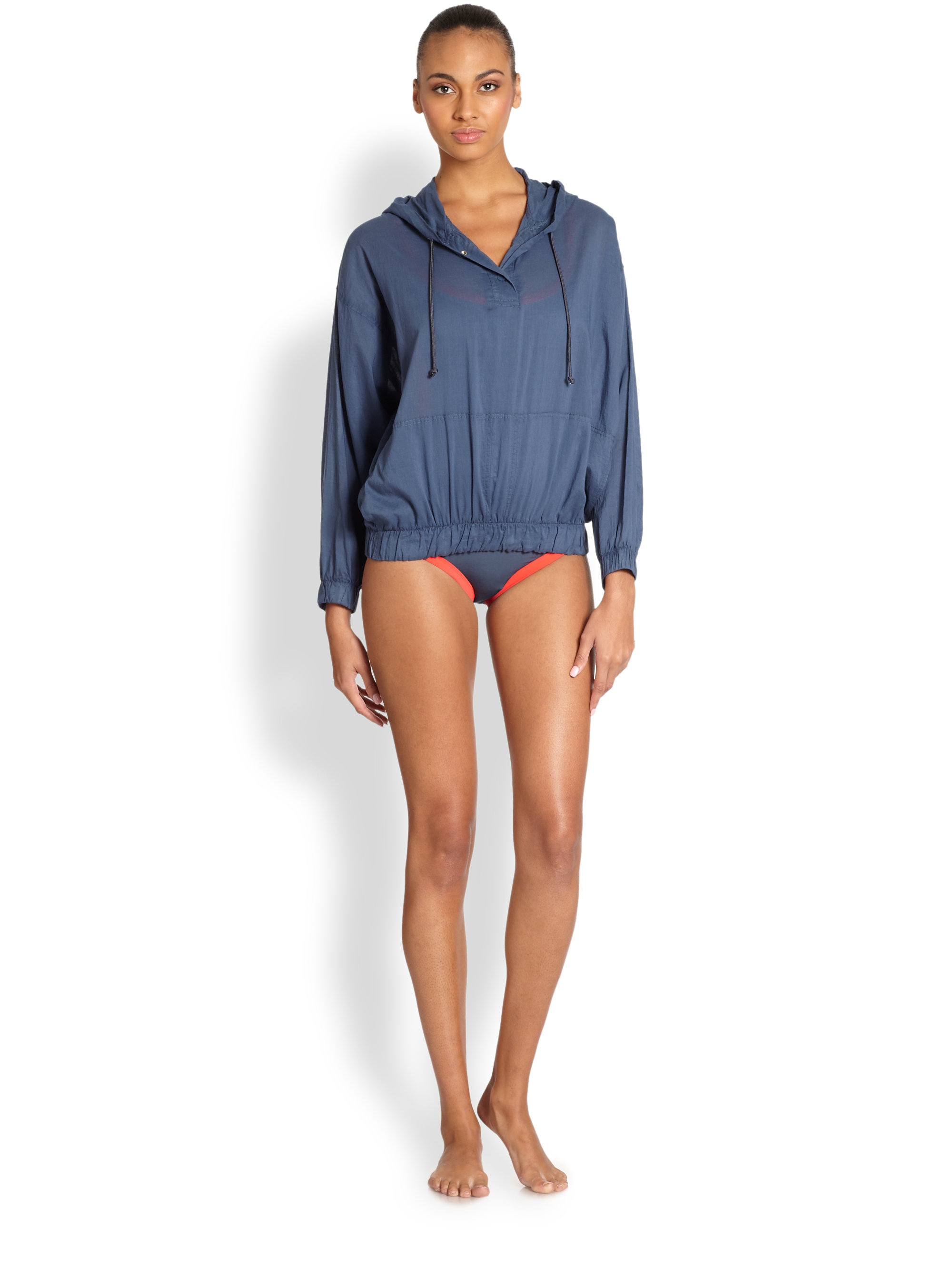 marc by marc jacobs cotton voile pullover jacket in blue lyst. Black Bedroom Furniture Sets. Home Design Ideas