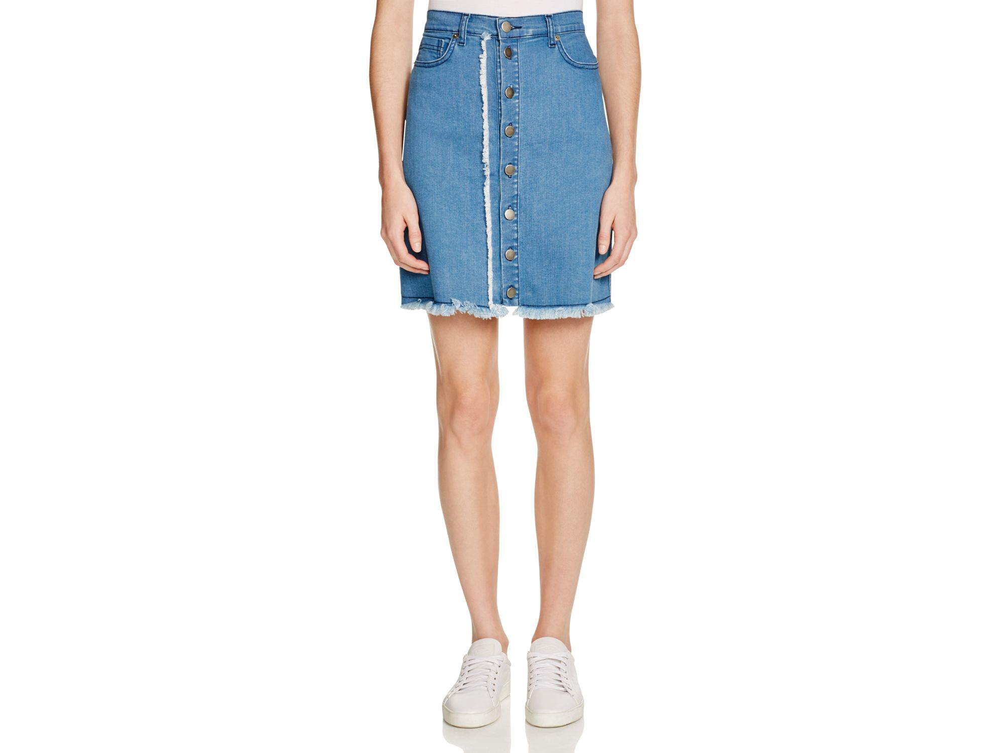 n nicholas denim button up mini skirt in blue lyst