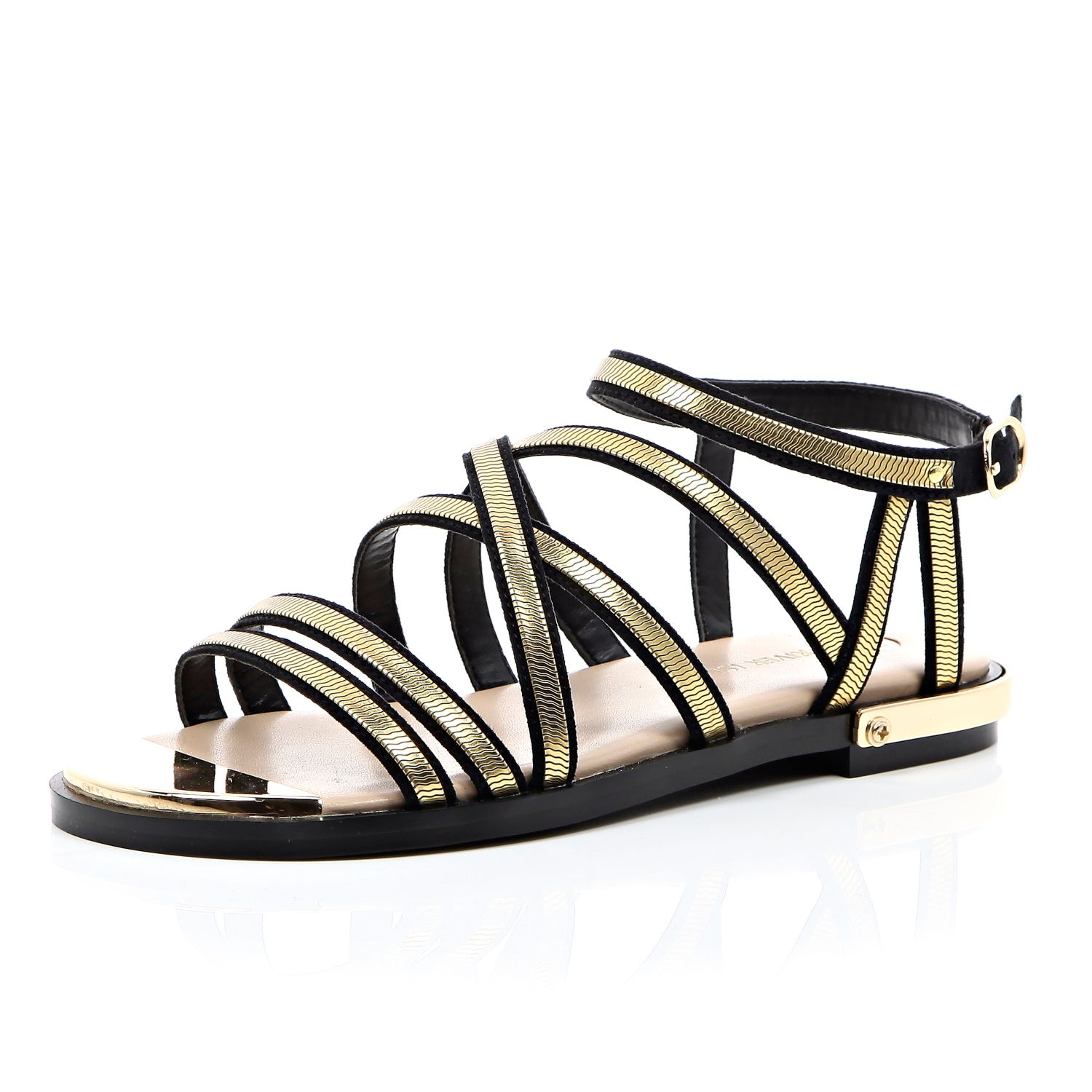 ac56a98820fa River Island Black And Gold Strappy Gladiator Sandals in Metallic - Lyst