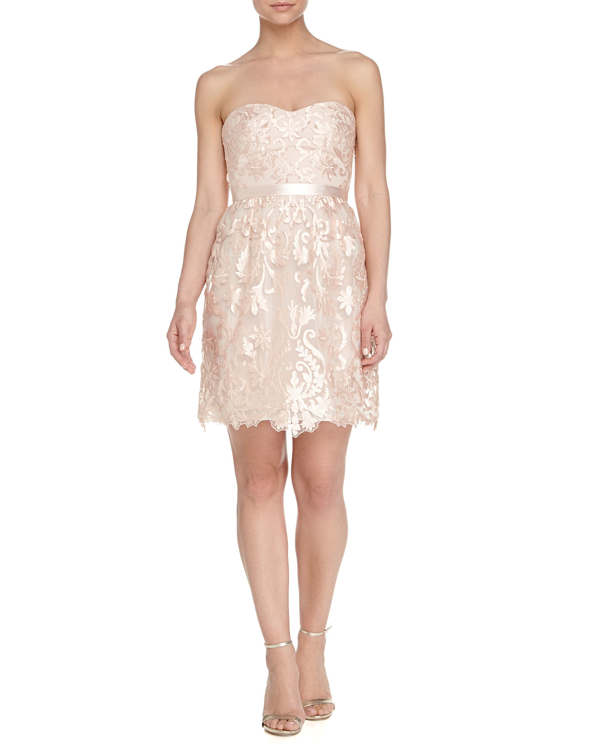 Notte by marchesa strapless belted floral lace cocktail dress in pink