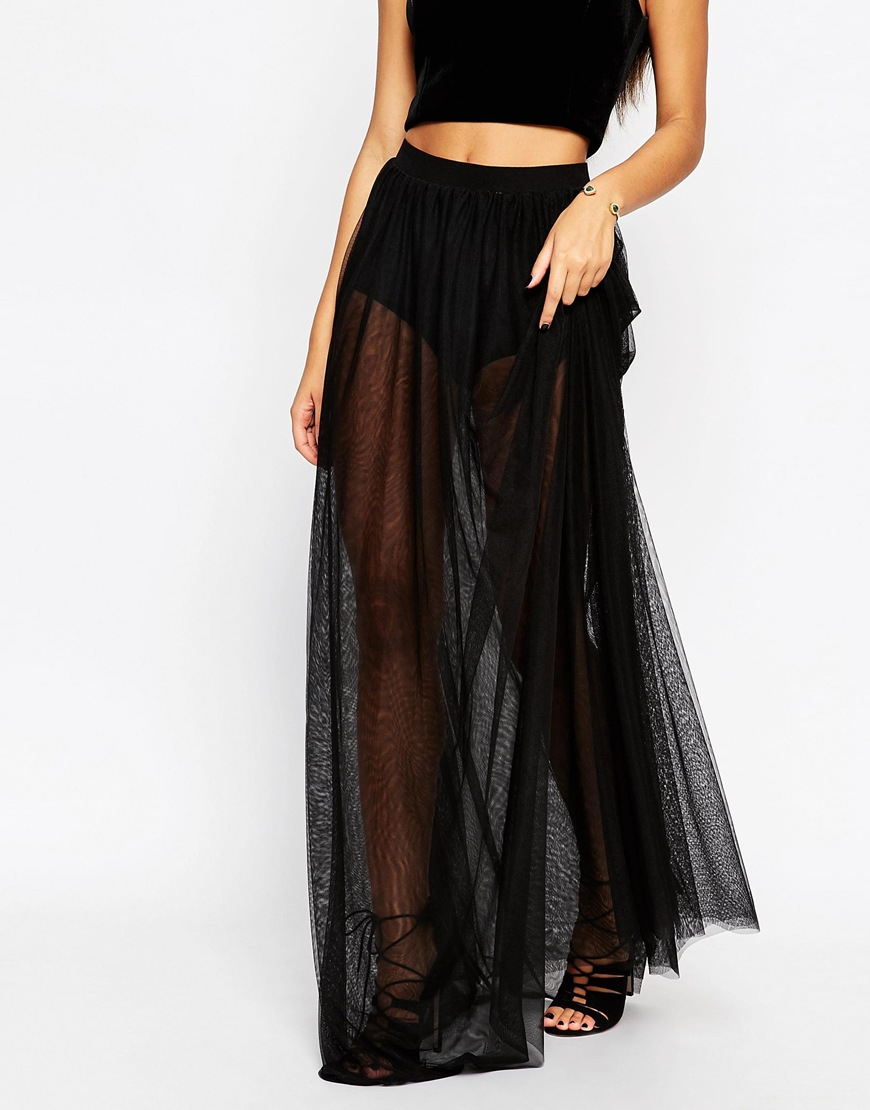 Asos Sheer Maxi Skirt With Knicker Short in Black | Lyst