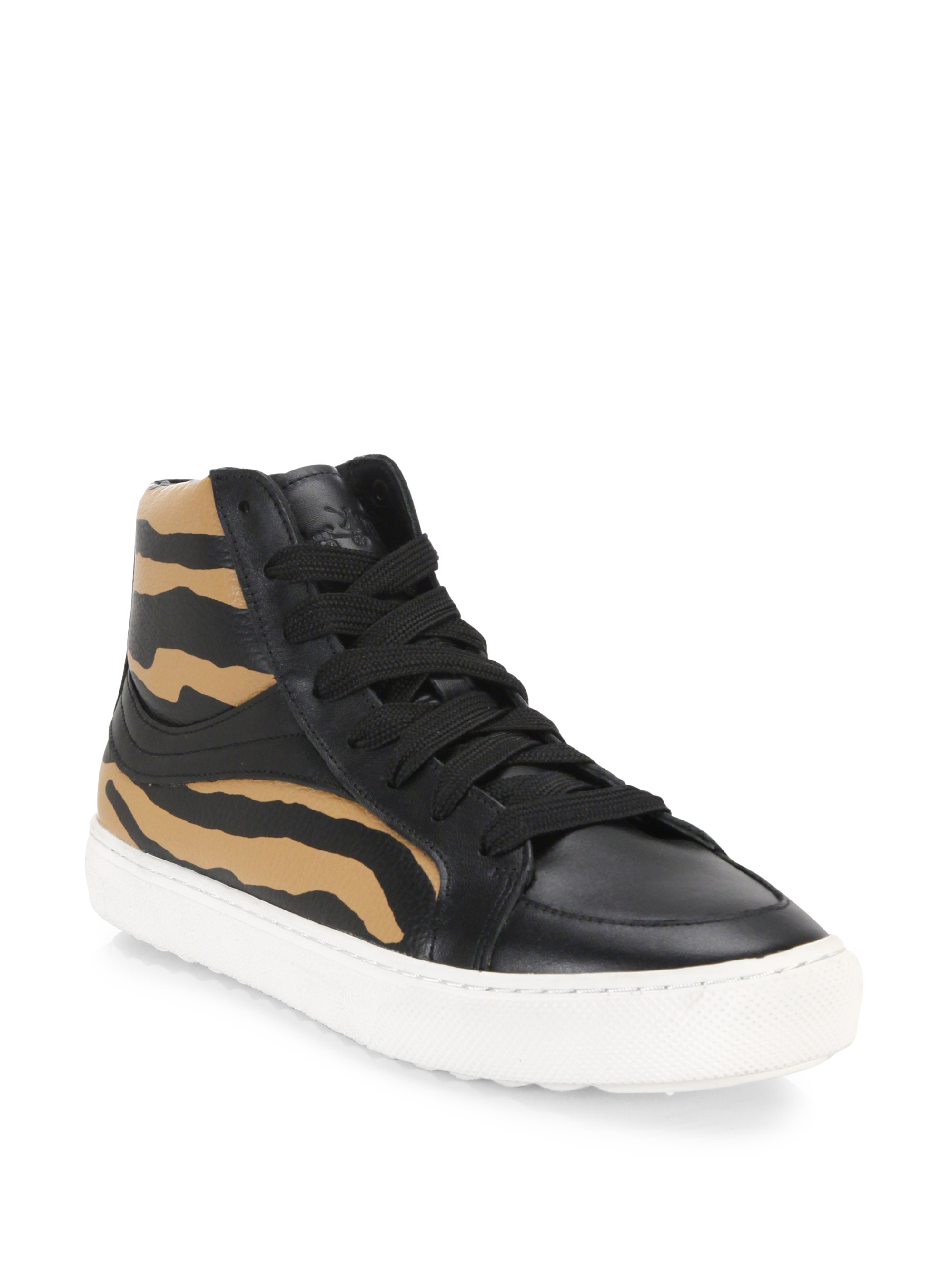coach animal print high top sneakers lyst. Black Bedroom Furniture Sets. Home Design Ideas