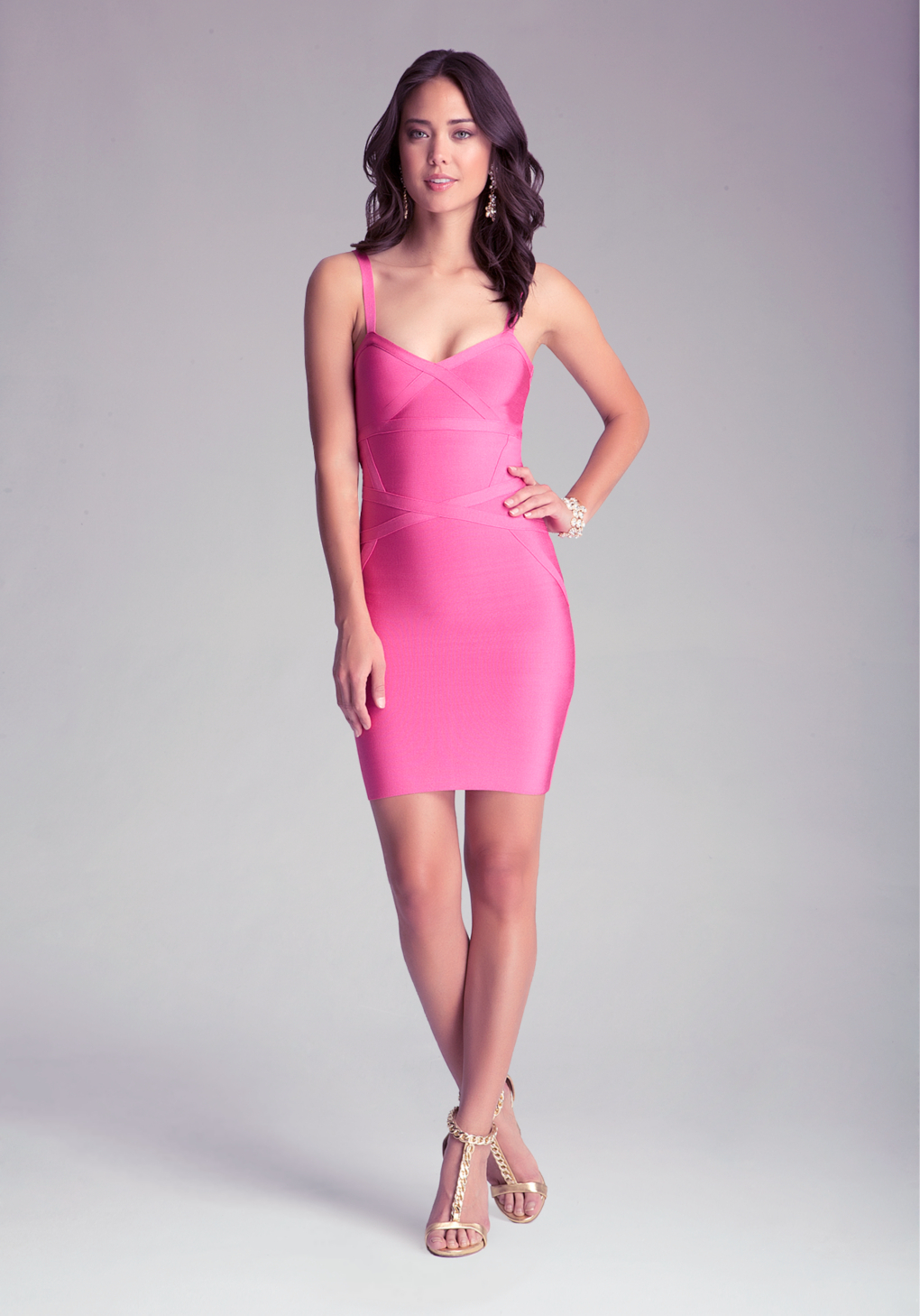 Bebe Cutout Bodycon Dress In Pink Lyst