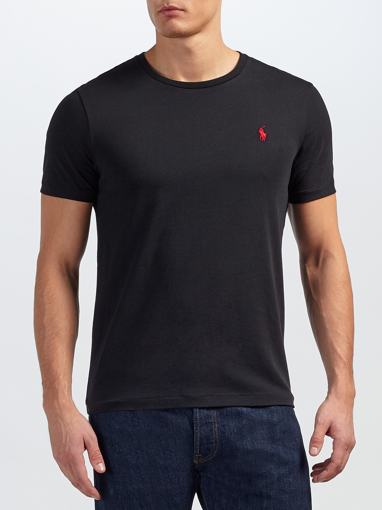 lyst polo ralph lauren basic custom fit t shirt in black for men. Black Bedroom Furniture Sets. Home Design Ideas