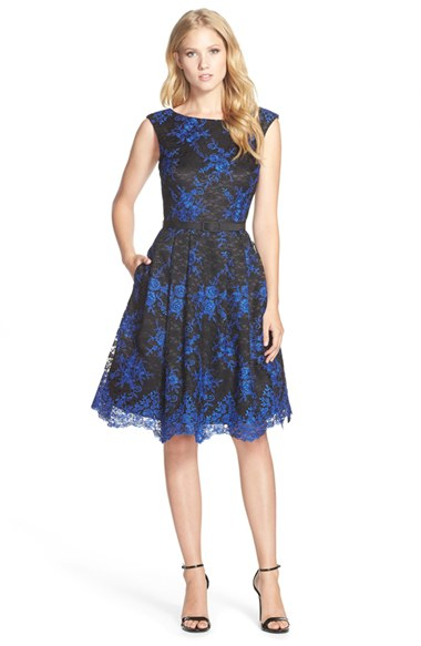 eliza j belted embroidered lace fit flare dress in black