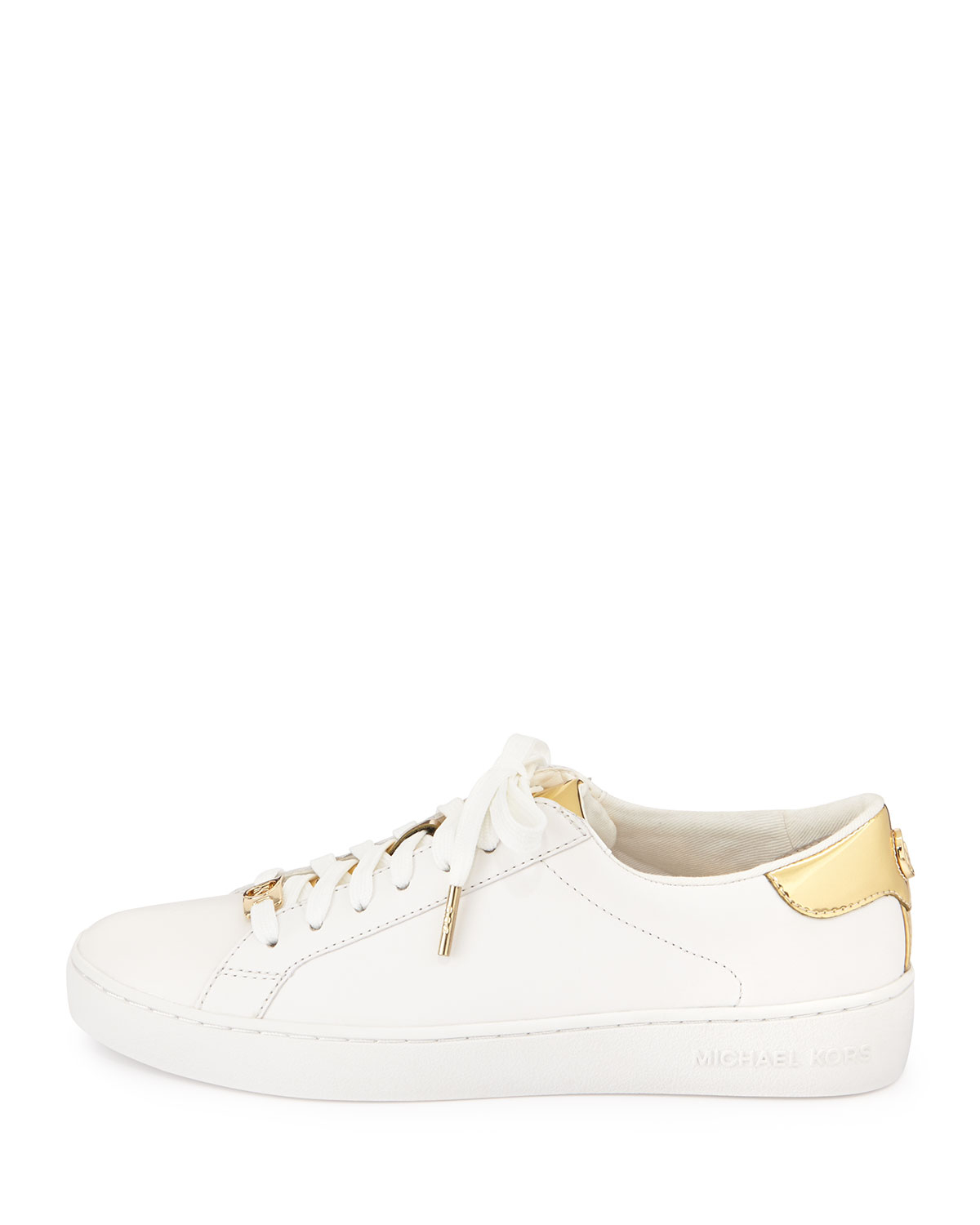 michael michael kors irving leather lace up sneaker in white lyst. Black Bedroom Furniture Sets. Home Design Ideas