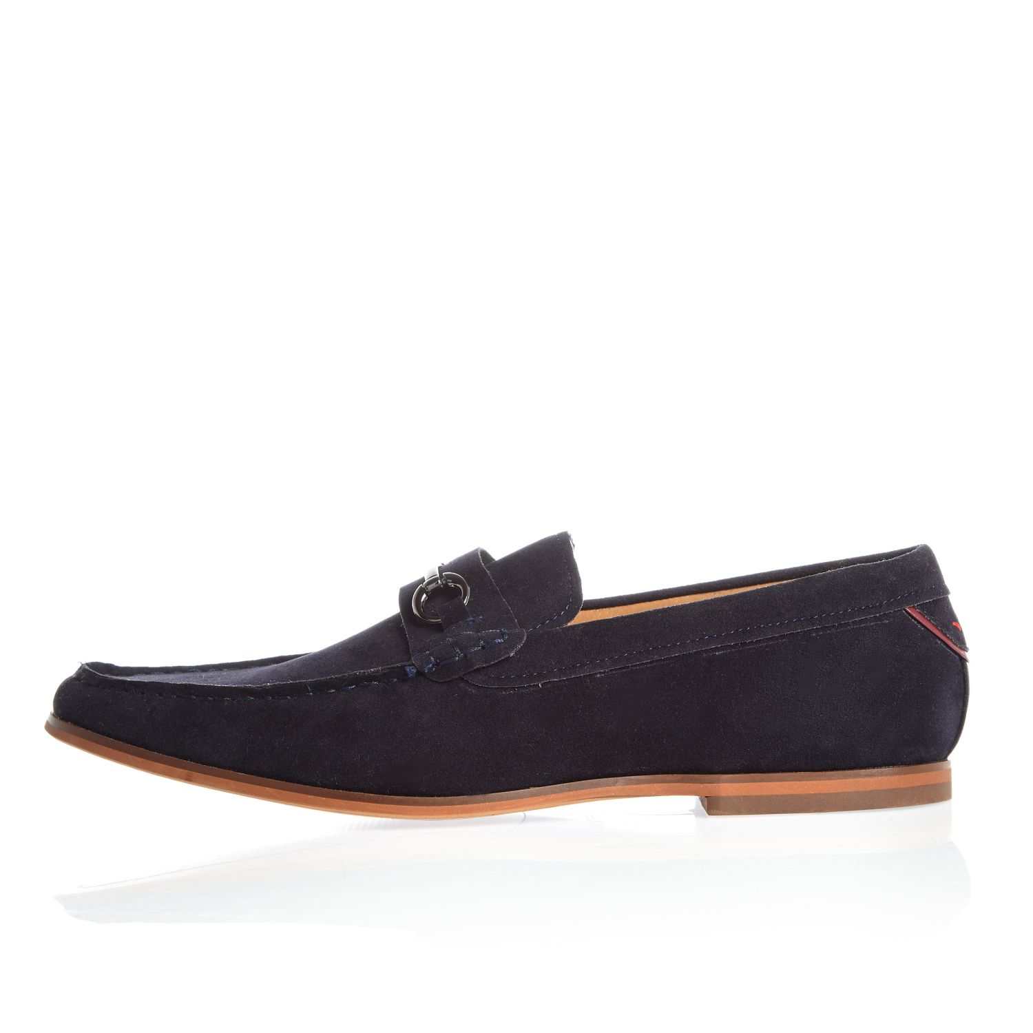 River Island Navy Blue Snaffle Loafers In For Men Lyst