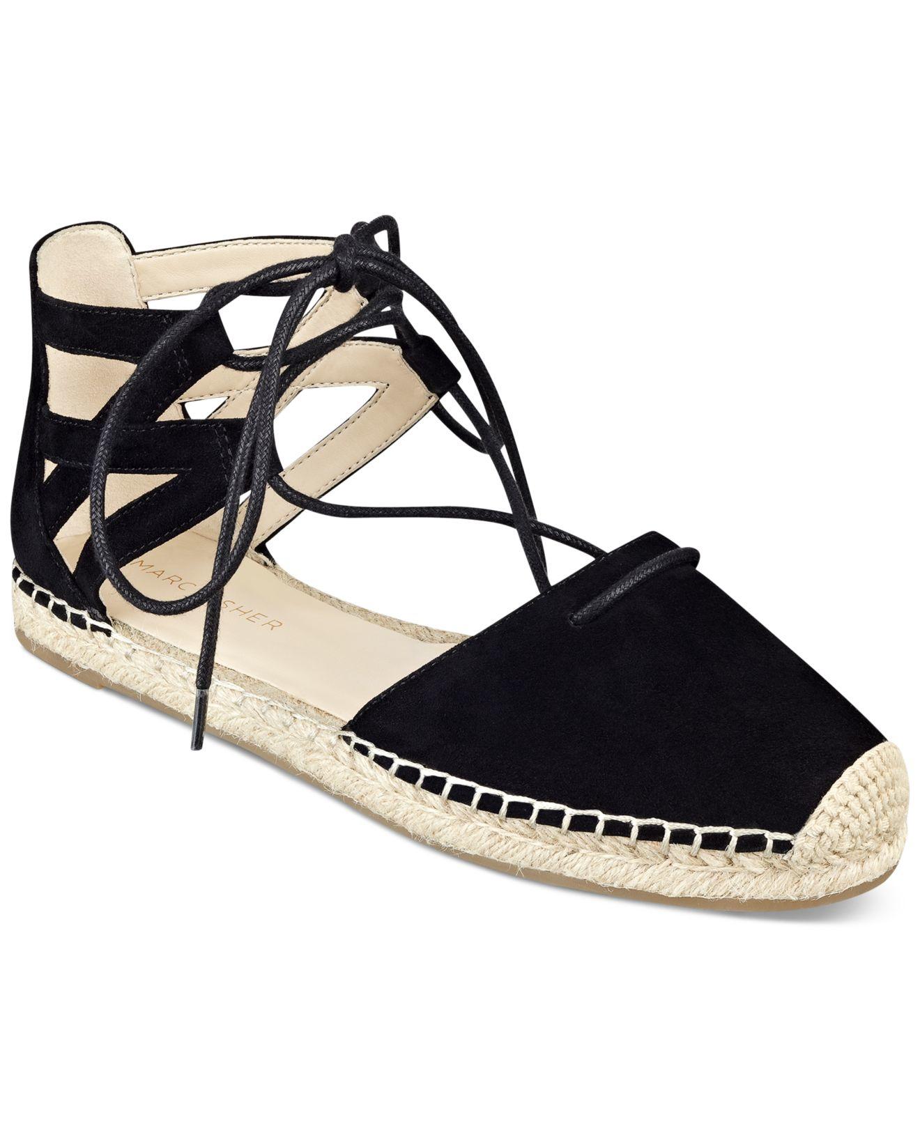 bc8af6b4432 Lyst - Marc Fisher Misses Lace-up Espadrille Sandals in Black