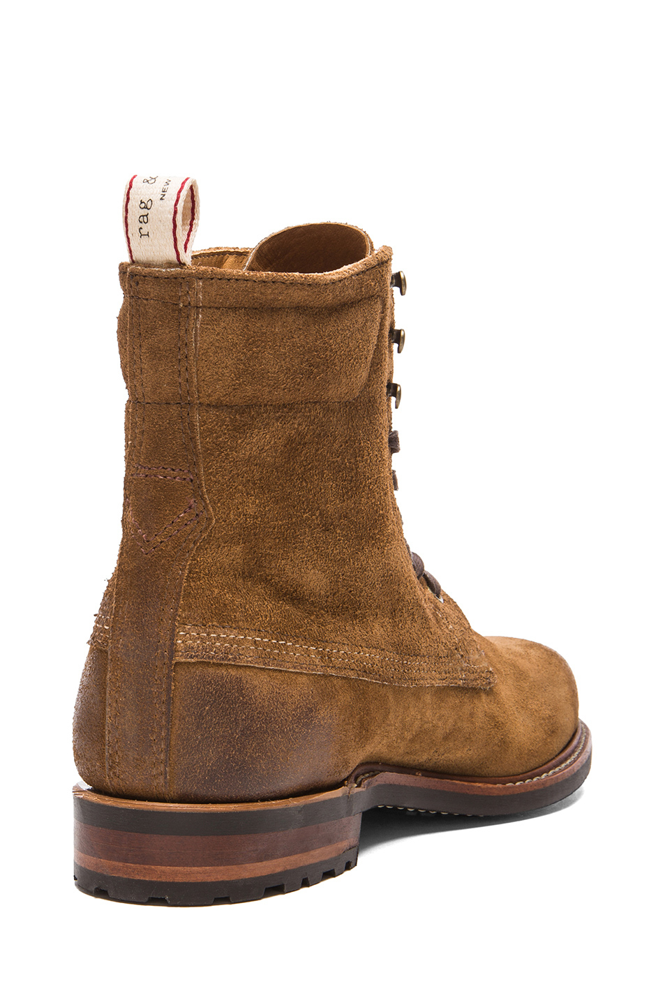 rag bone mens suede officer boot in brown for