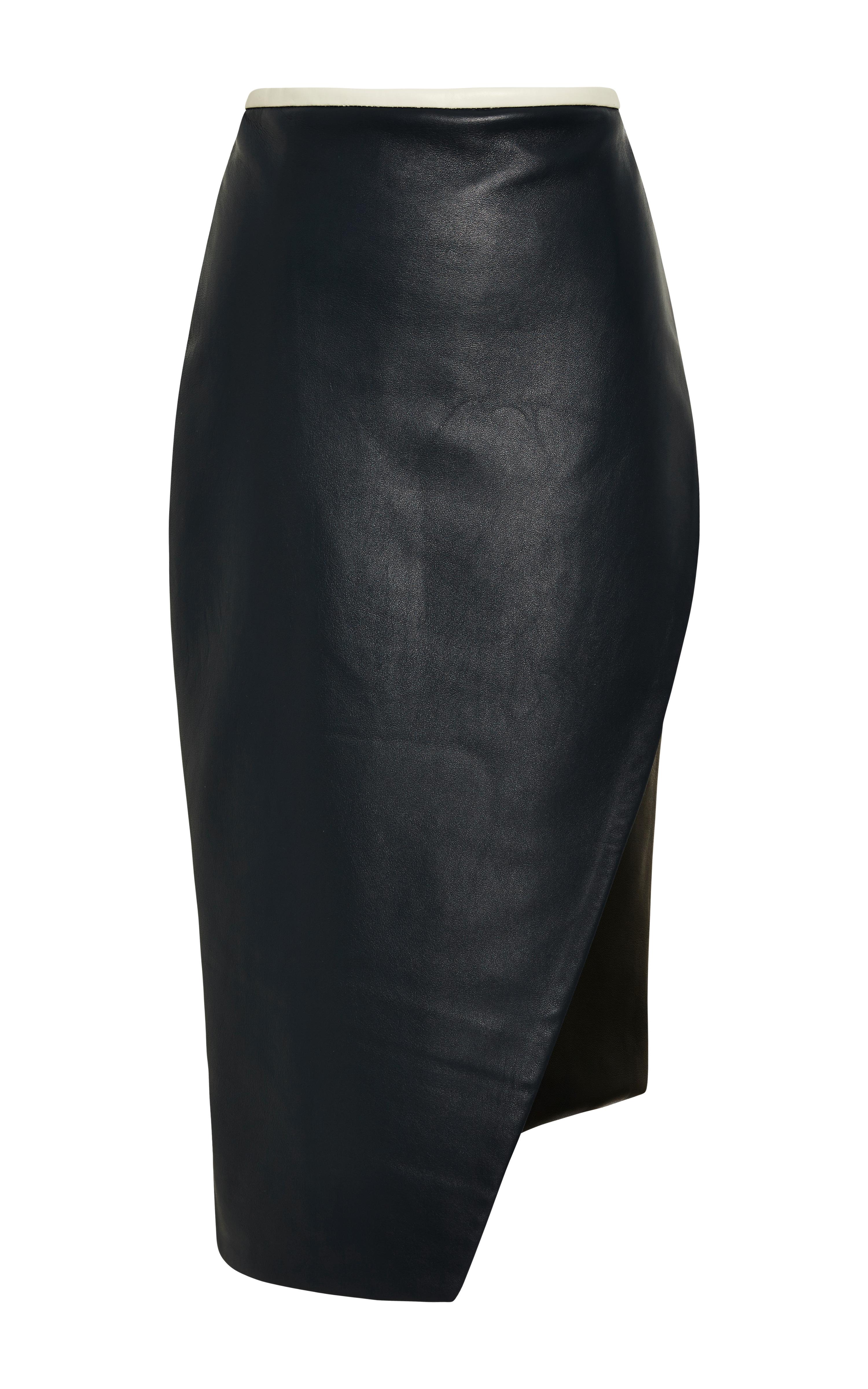 jonathan simkhai asymmetrical leather pencil skirt in blue