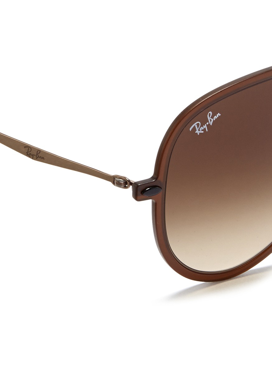 Ray-Ban 'Light Ray' Matte Acetate Aviator Sunglasses in Brown